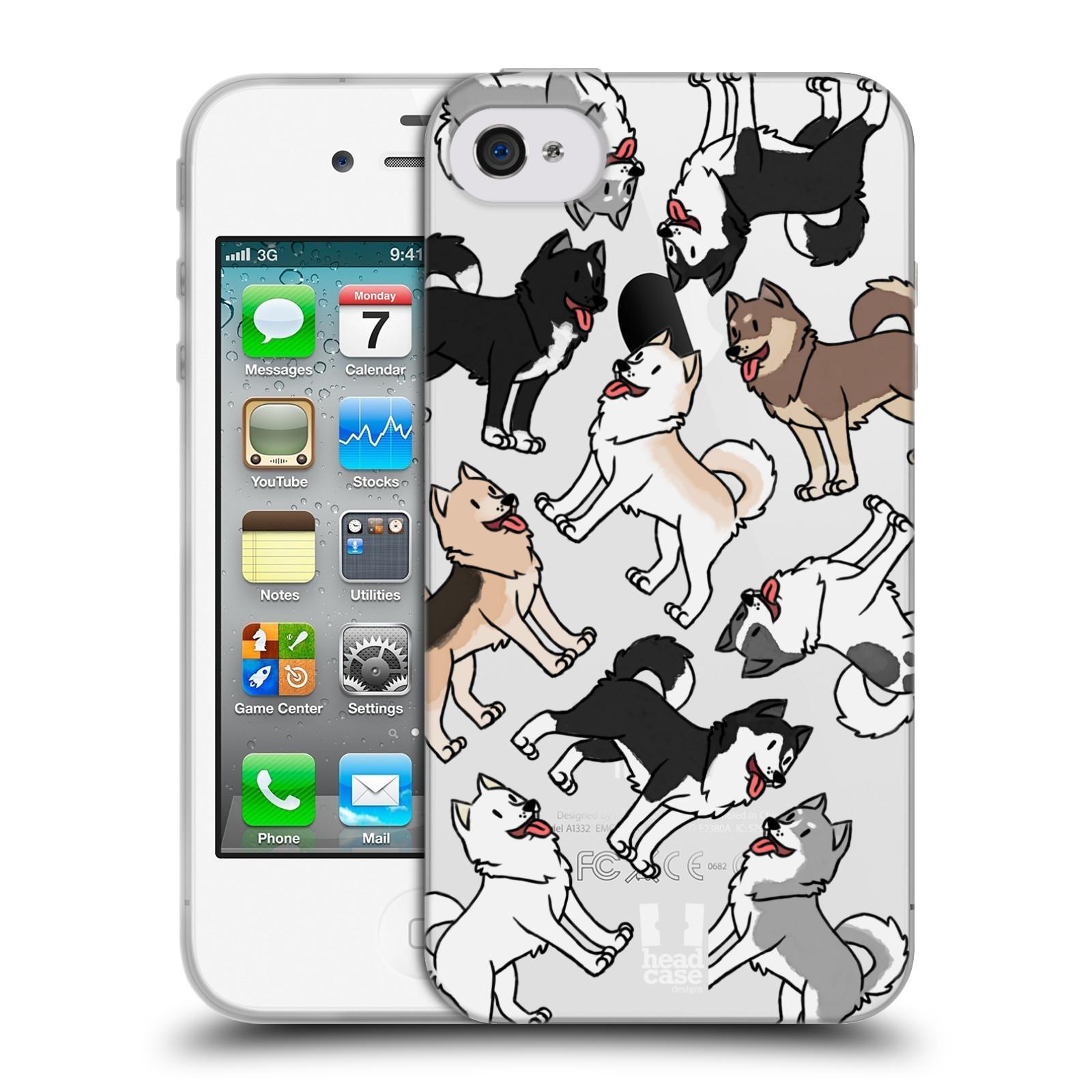 HEAD CASE silikonový obal na mobil Apple Iphone 4/4S pejsek Sibiřský husky