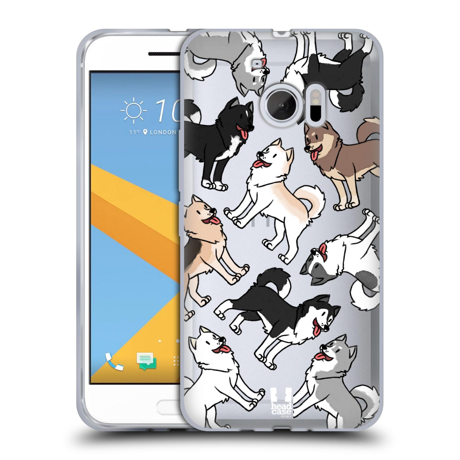 HEAD CASE silikonový obal na mobil HTC 10 pejsek Sibiřský husky