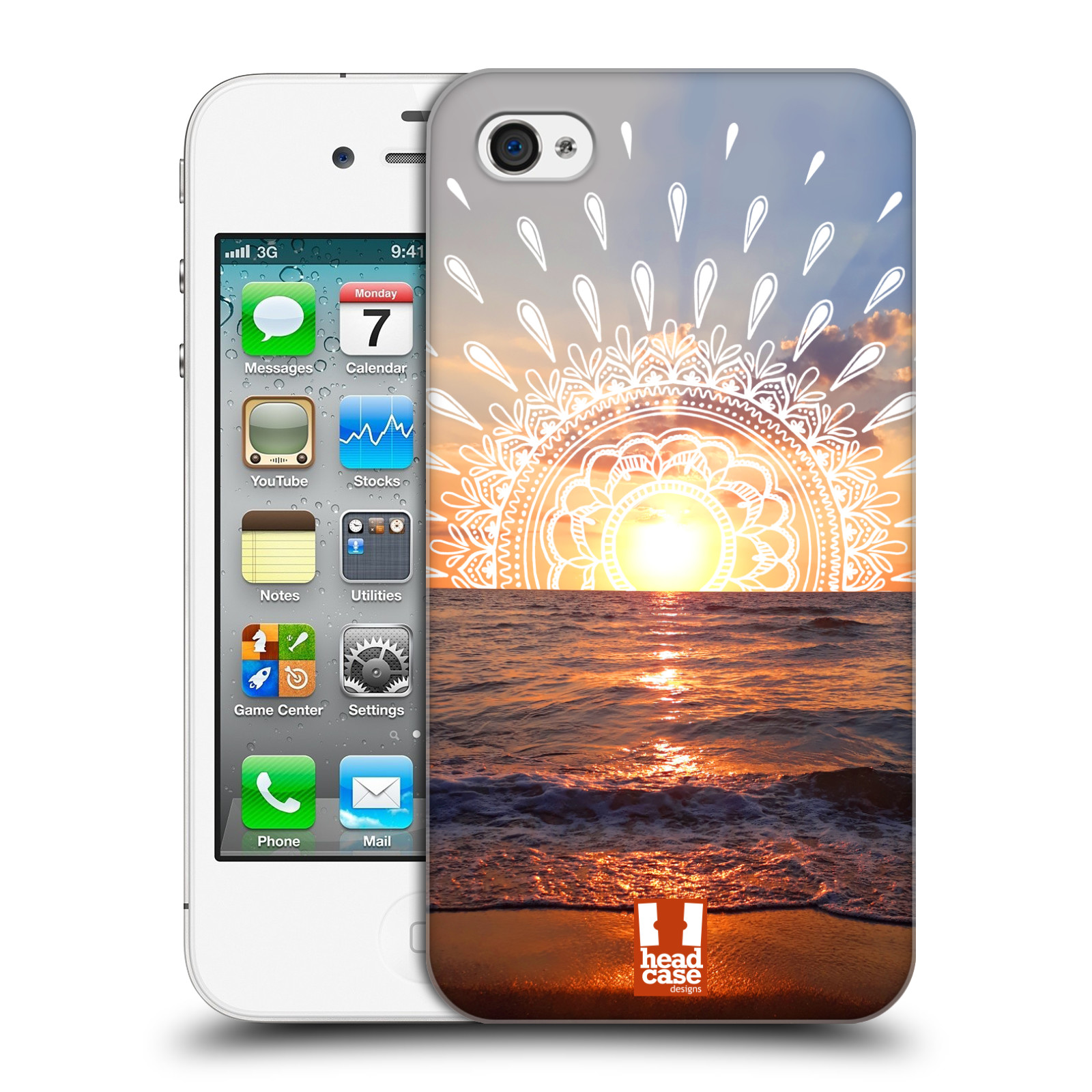 Pouzdro na mobil Apple Iphone 4/4S - HEAD CASE - doodle západ slunce