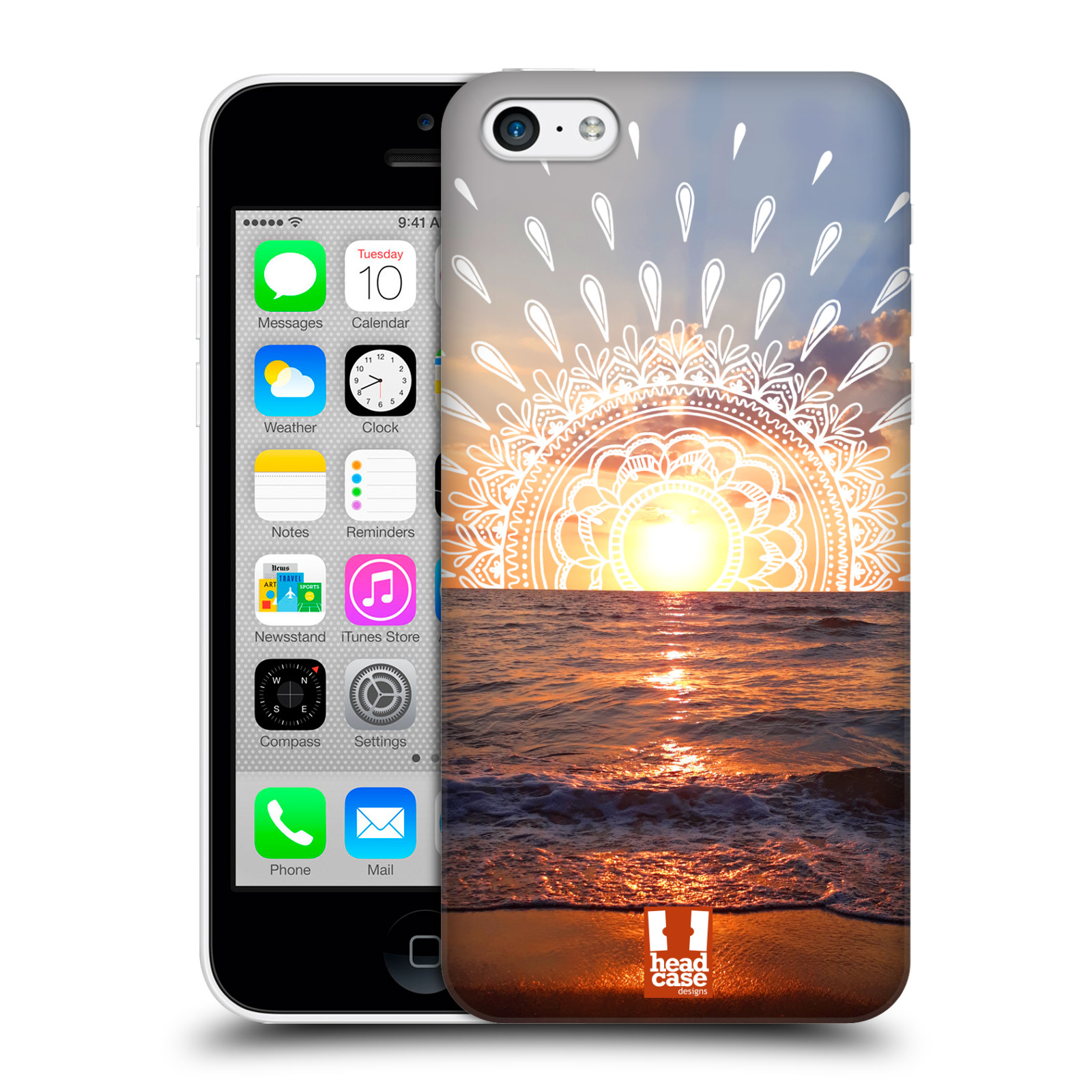 Pouzdro na mobil Apple Iphone 5C - HEAD CASE - doodle západ slunce
