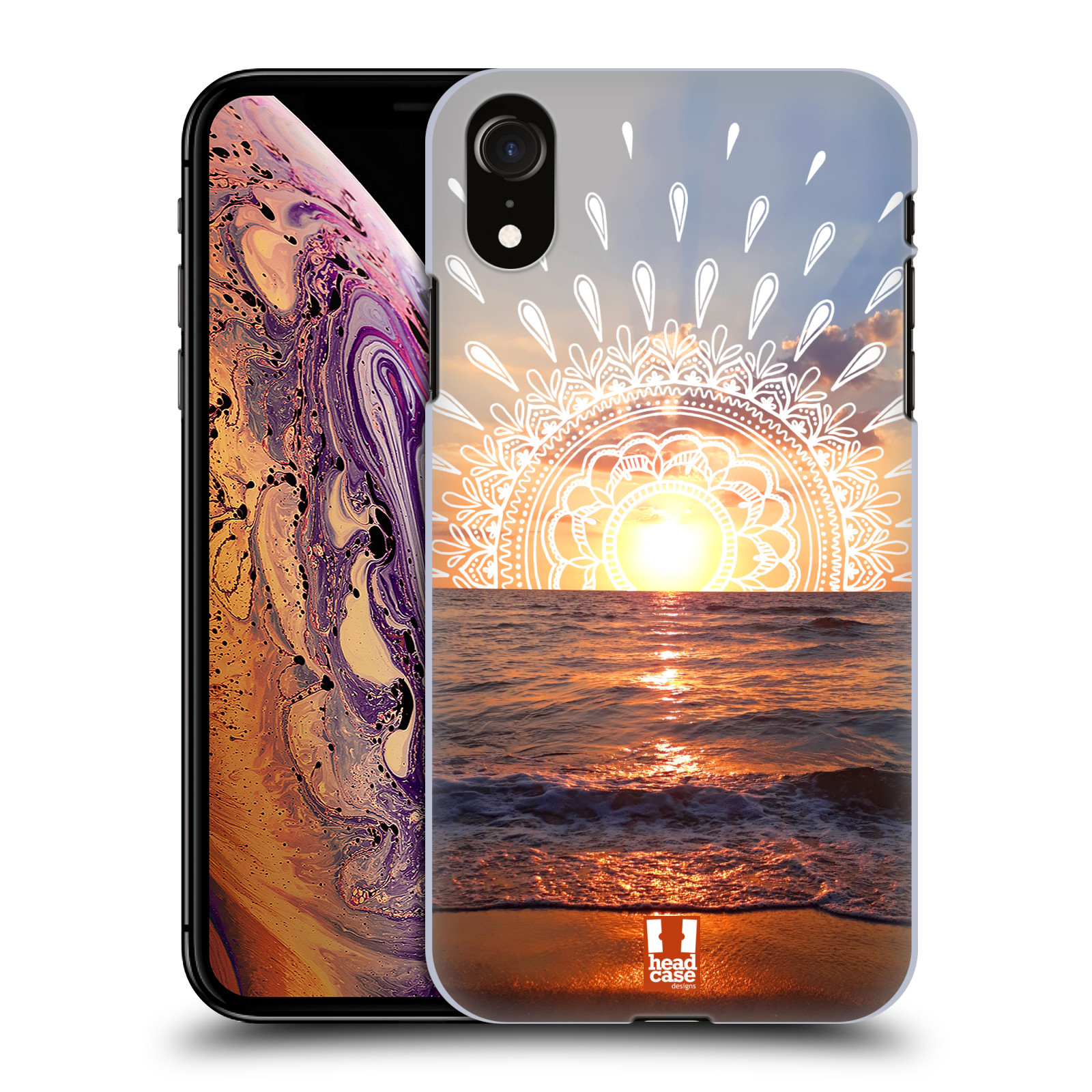 Pouzdro na mobil Apple Iphone XR - HEAD CASE - doodle západ slunce