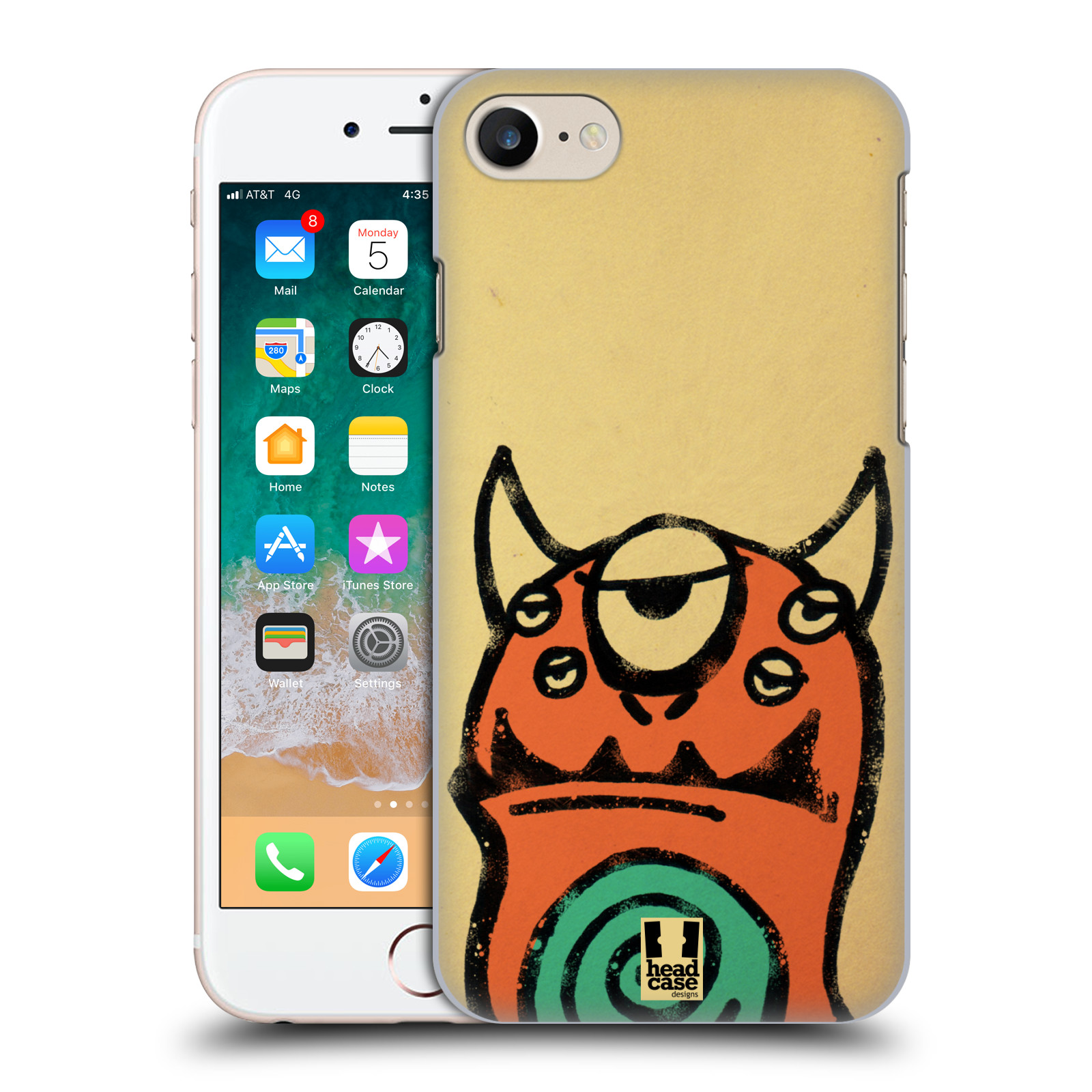 HEAD CASE DESIGNS DOODLE FACE MONSTERS HARD BACK CASE FOR APPLE iPHONE 7
