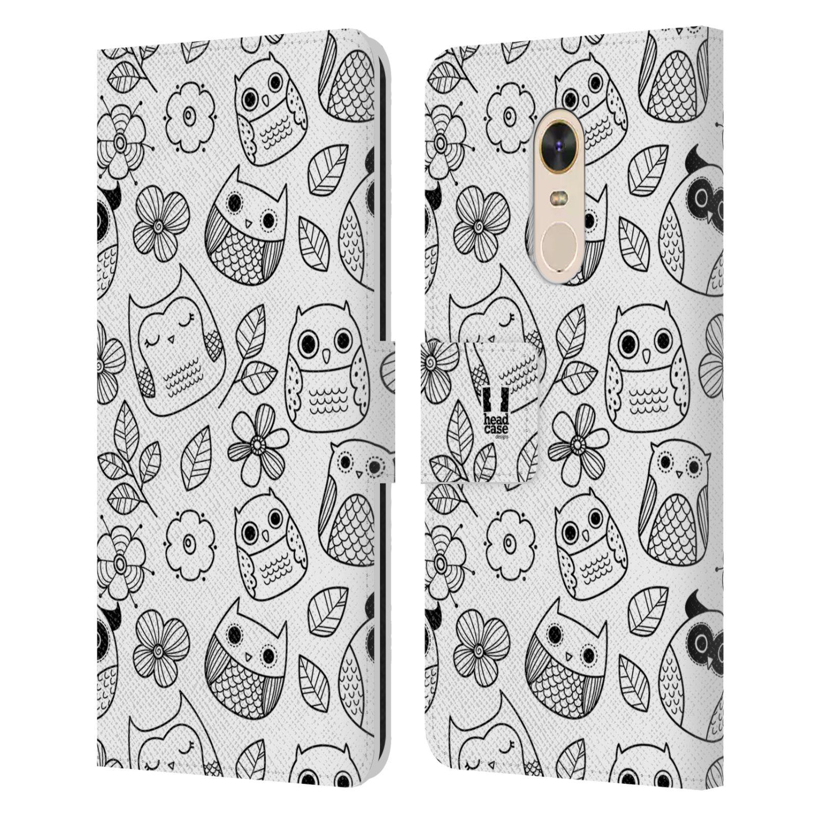 HEAD CASE Flipové pouzdro pro mobil Xiaomi Redmi Note 5 černobílé sovičky kreslené květiny a sovičky bílá