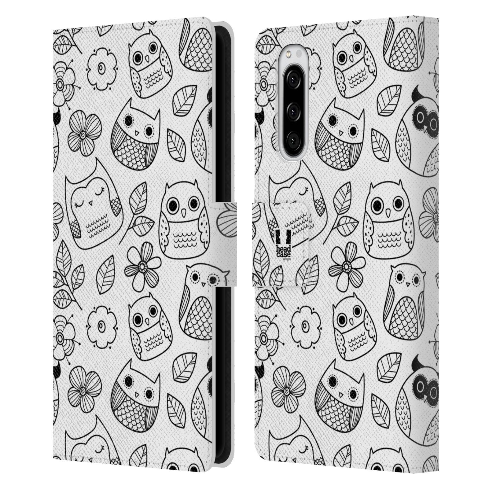 Pouzdro na mobil Sony Xperia 5 černobílé sovičky kreslené květiny a sovičky bílá