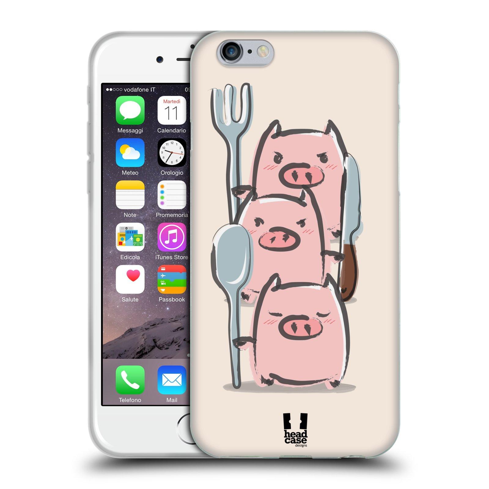 HEAD CASE silikonový obal na mobil Apple Iphone 6/6S vzor roztomilé růžové prasátko hladovci