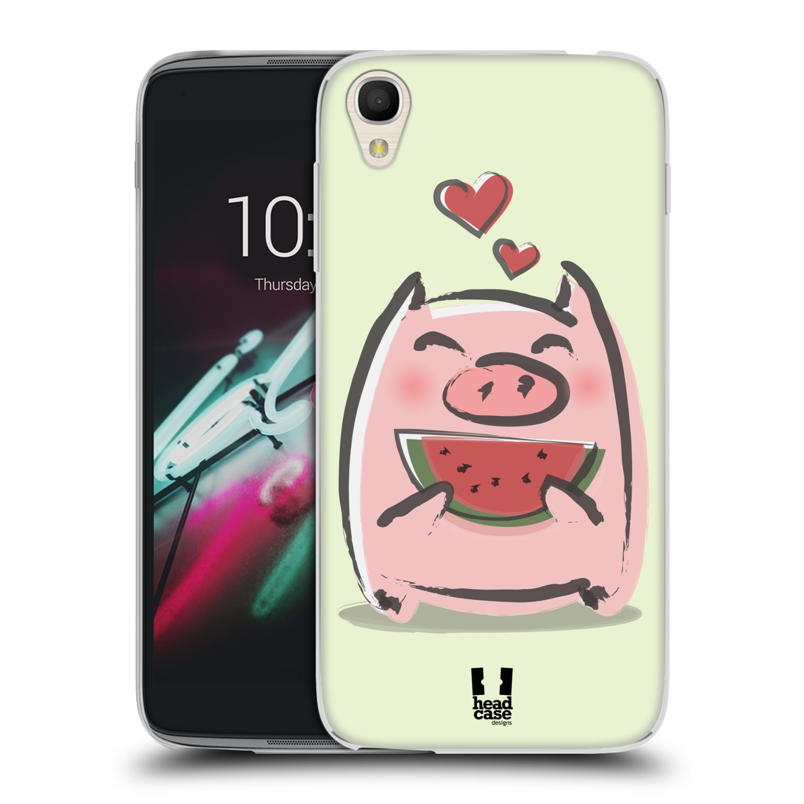 HEAD CASE silikonový obal na mobil Alcatel Idol 3 OT-6039Y (4.7) vzor roztomilé růžové prasátko vodní meloun
