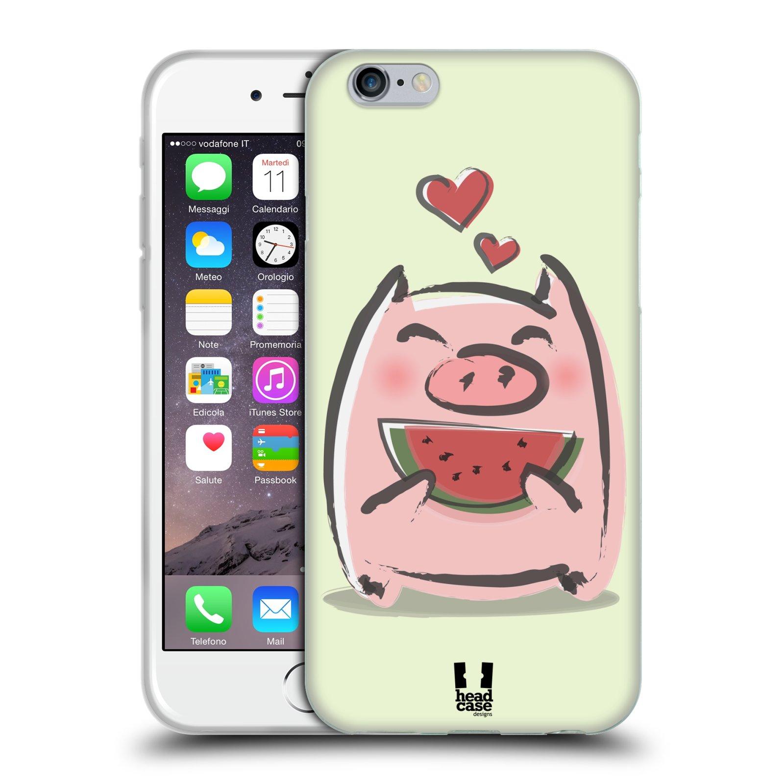 HEAD CASE silikonový obal na mobil Apple Iphone 6/6S vzor roztomilé růžové prasátko vodní meloun