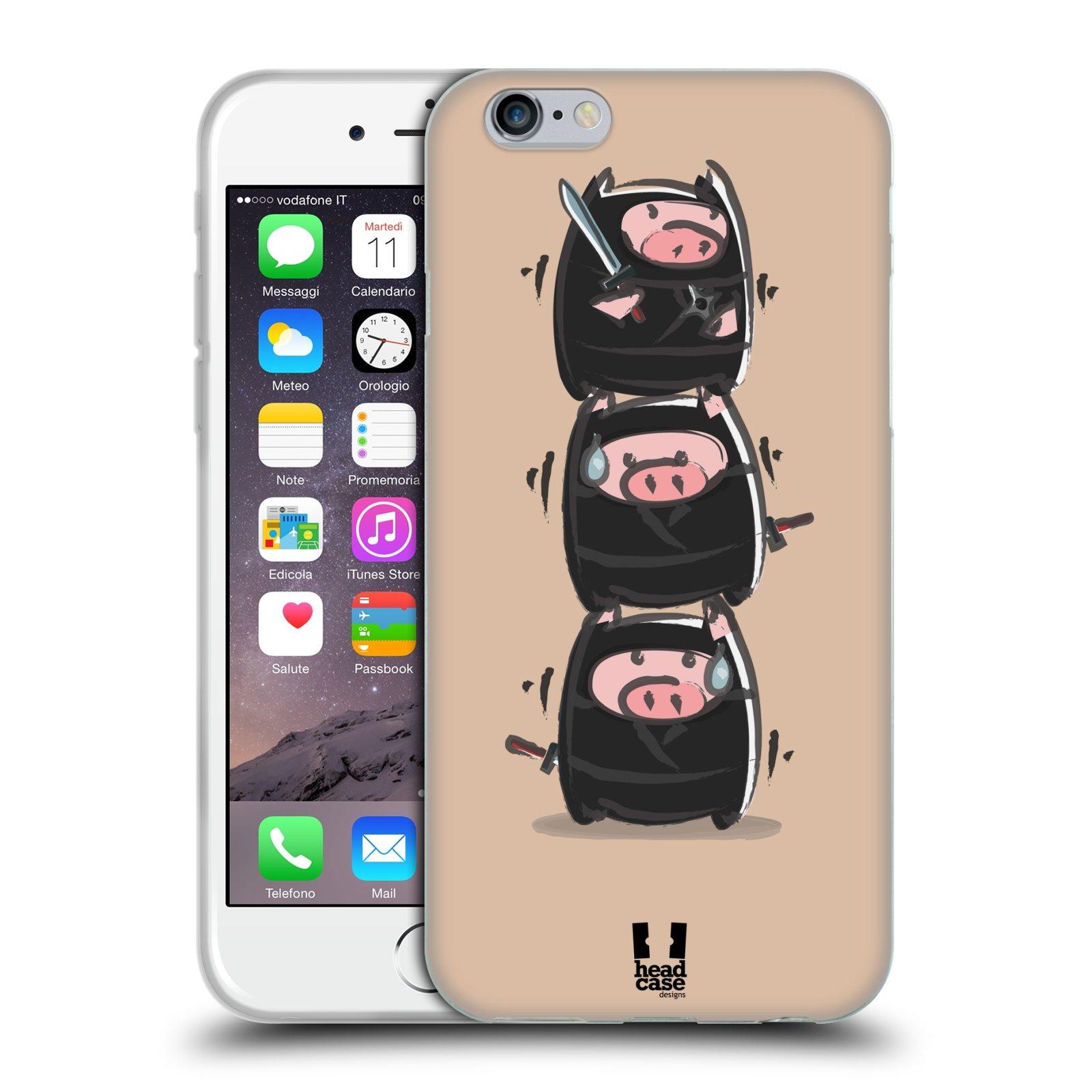 HEAD CASE silikonový obal na mobil Apple Iphone 6/6S vzor roztomilé růžové prasátko ninja