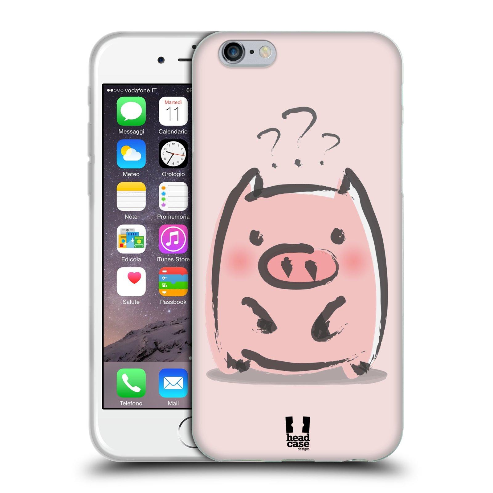 HEAD CASE silikonový obal na mobil Apple Iphone 6/6S vzor roztomilé růžové prasátko otazník