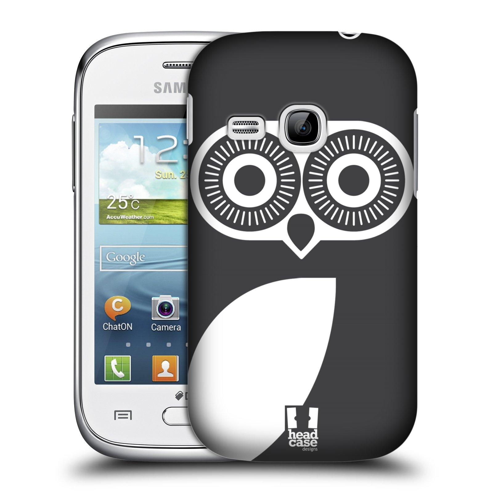 HEAD CASE plastový obal na mobil SAMSUNG Galaxy Young S6310 vzor roztomilá sovička barevná černá