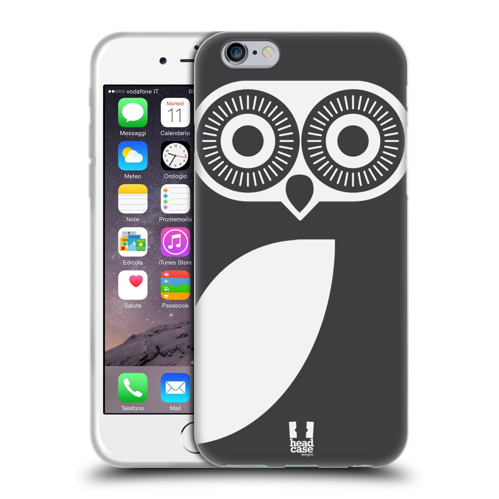 HEAD CASE silikonový obal na mobil Apple Iphone 6/6S vzor roztomilá sovička barevná černá