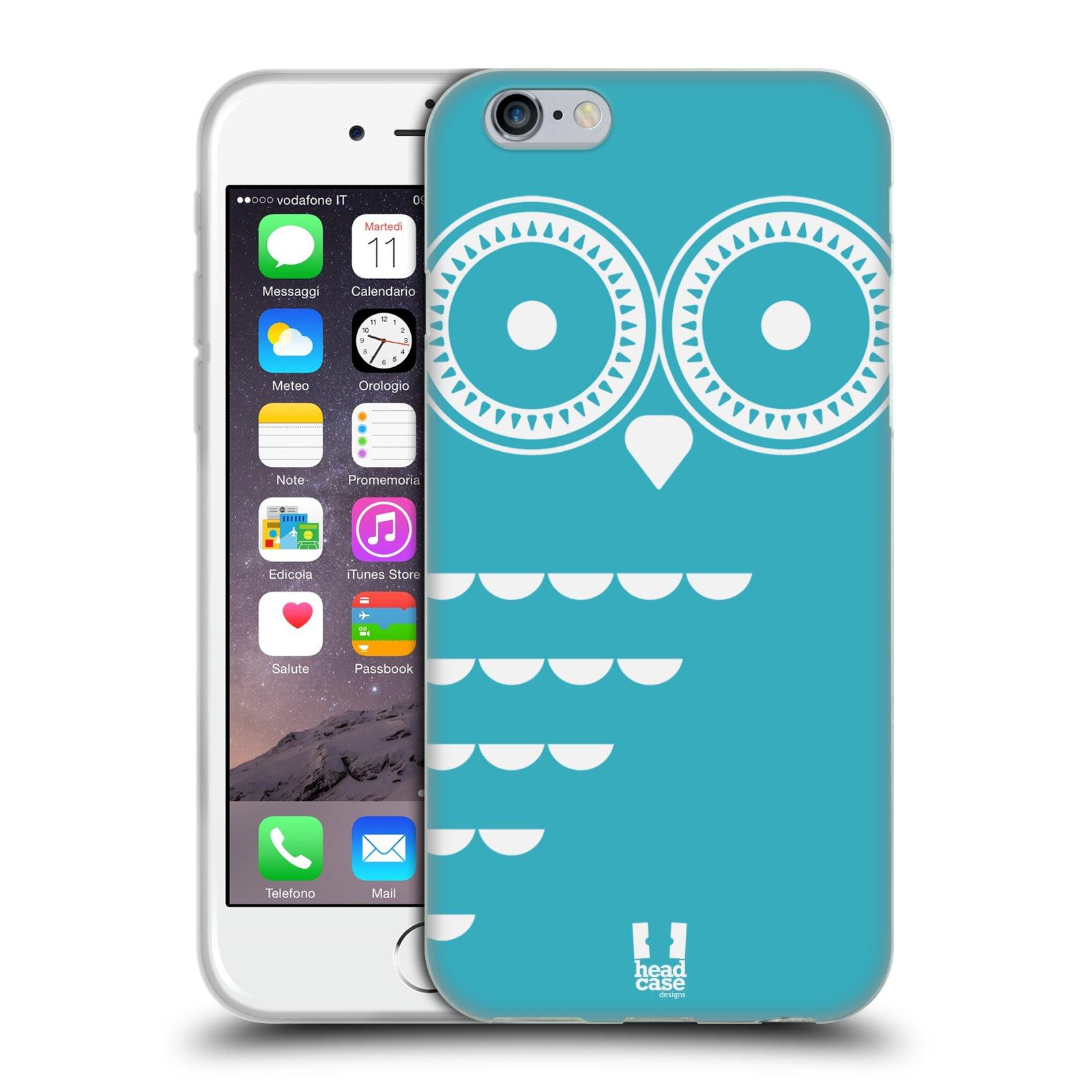 HEAD CASE silikonový obal na mobil Apple Iphone 6/6S vzor roztomilá sovička barevná modrá