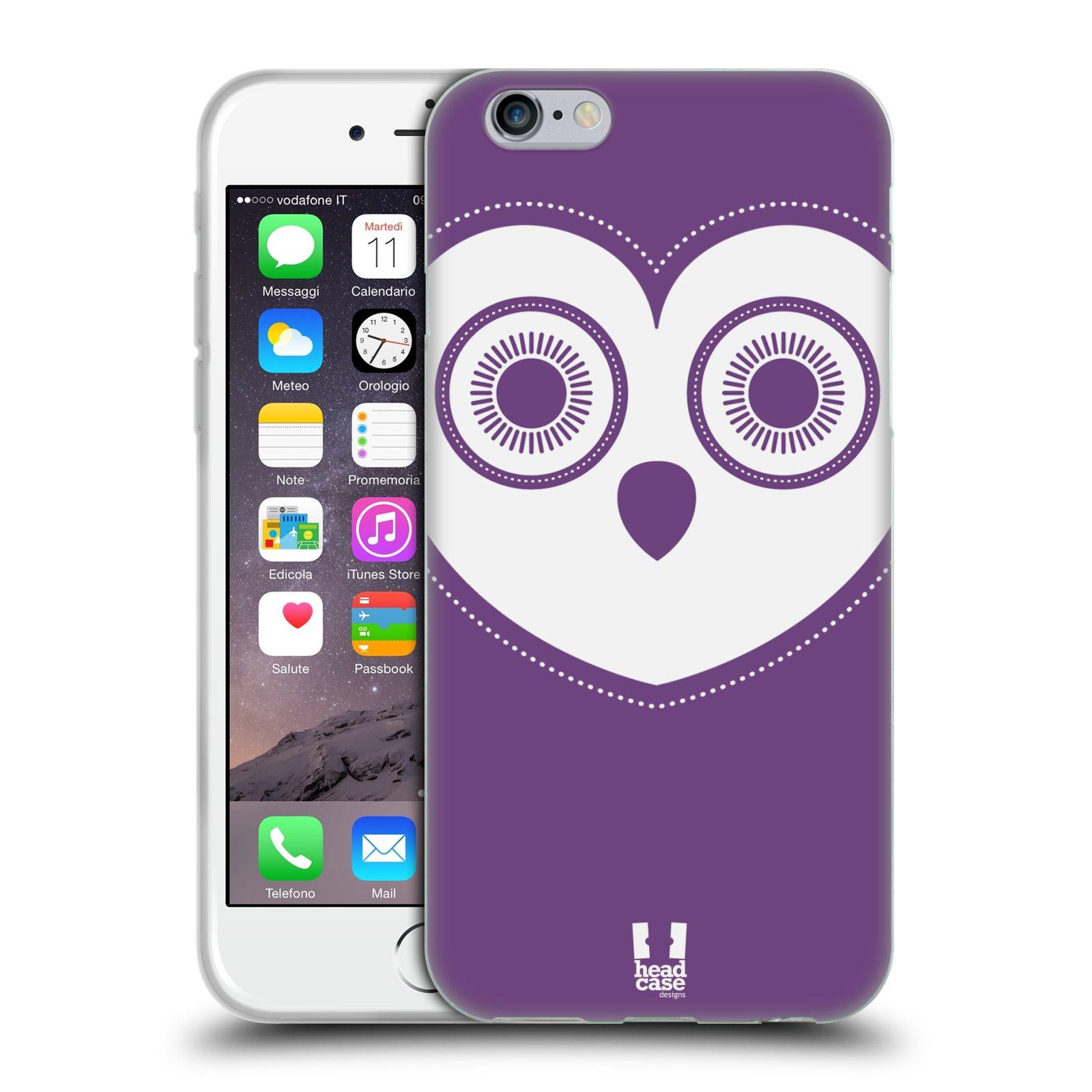 HEAD CASE silikonový obal na mobil Apple Iphone 6/6S vzor roztomilá sovička barevná levandule
