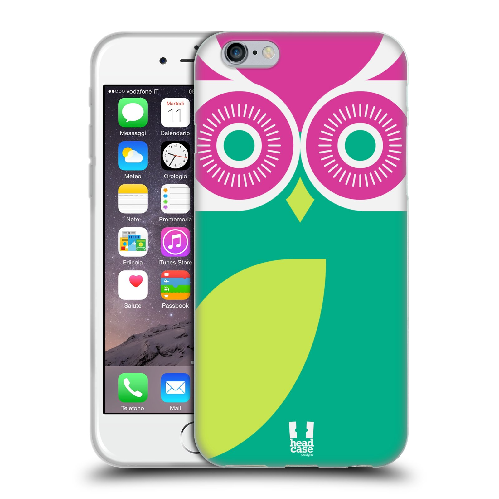 HEAD CASE silikonový obal na mobil Apple Iphone 6/6S vzor roztomilá sovička barevná zelená a růžová