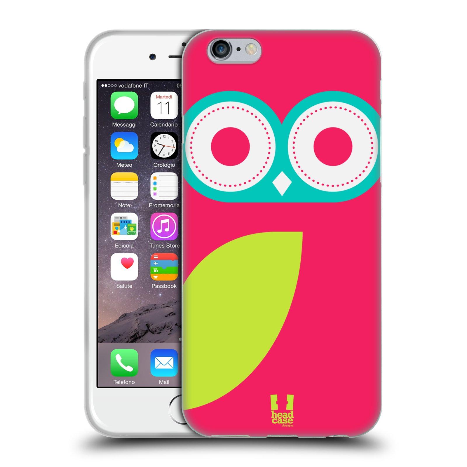 HEAD CASE silikonový obal na mobil Apple Iphone 6/6S vzor roztomilá sovička barevná růžová a limeta