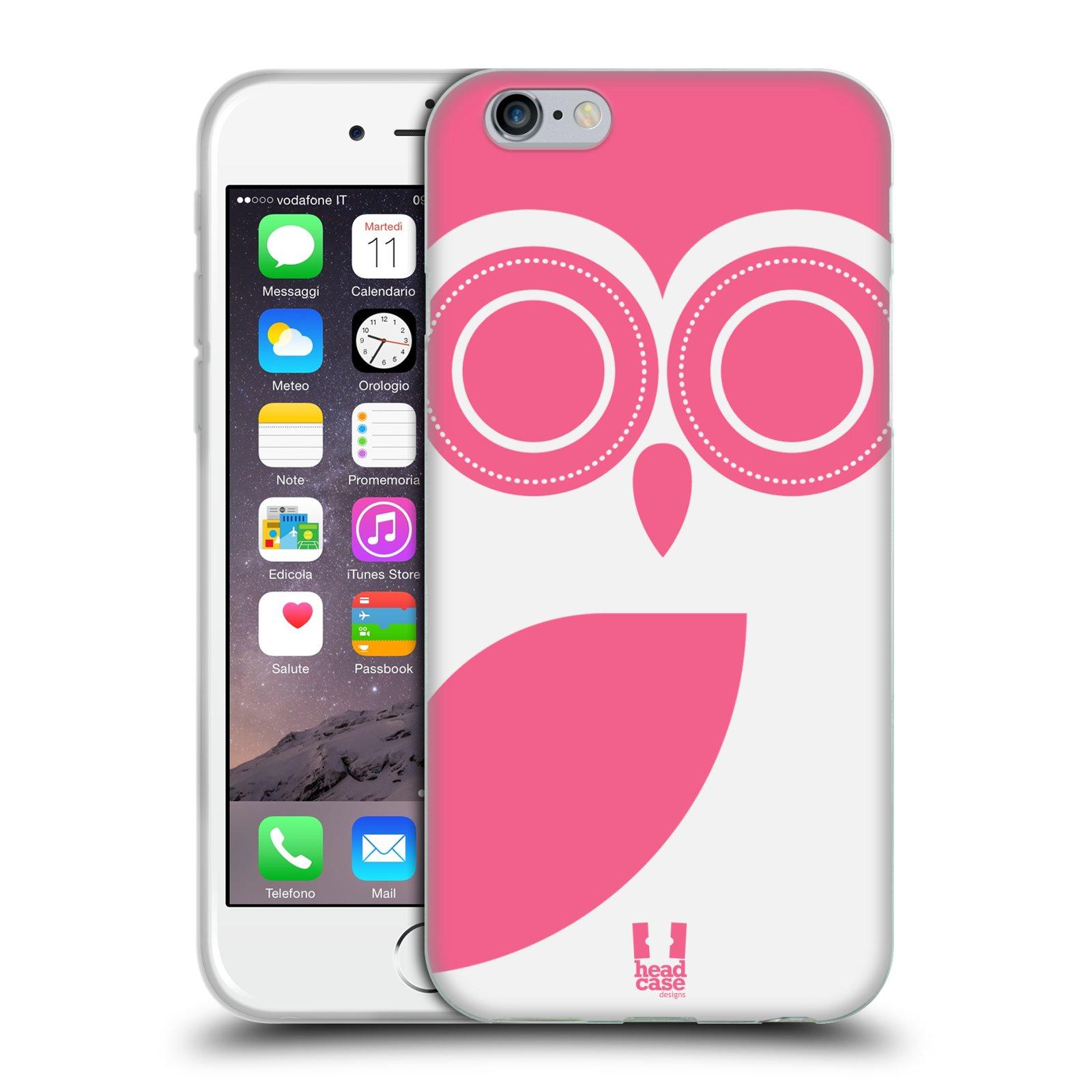 HEAD CASE silikonový obal na mobil Apple Iphone 6/6S vzor roztomilá sovička bílá a růžová