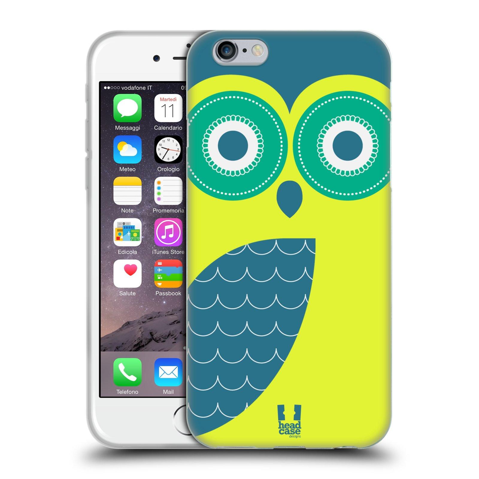 HEAD CASE silikonový obal na mobil Apple Iphone 6/6S vzor roztomilá sovička barevná modrá a žlutá