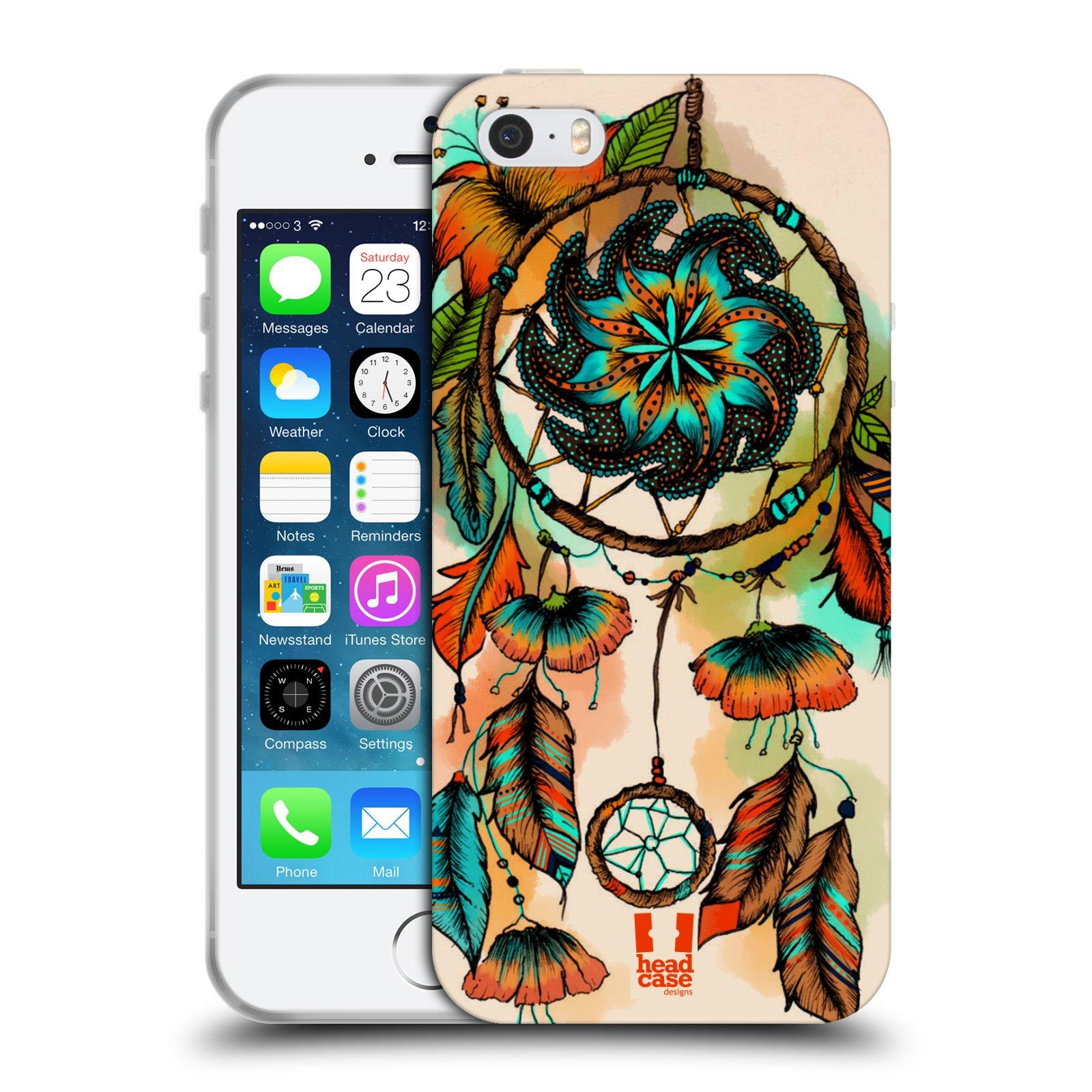 HEAD CASE silikonový obal na mobil Apple Iphone 5/5S vzor Květy lapač snů merňka oranžová