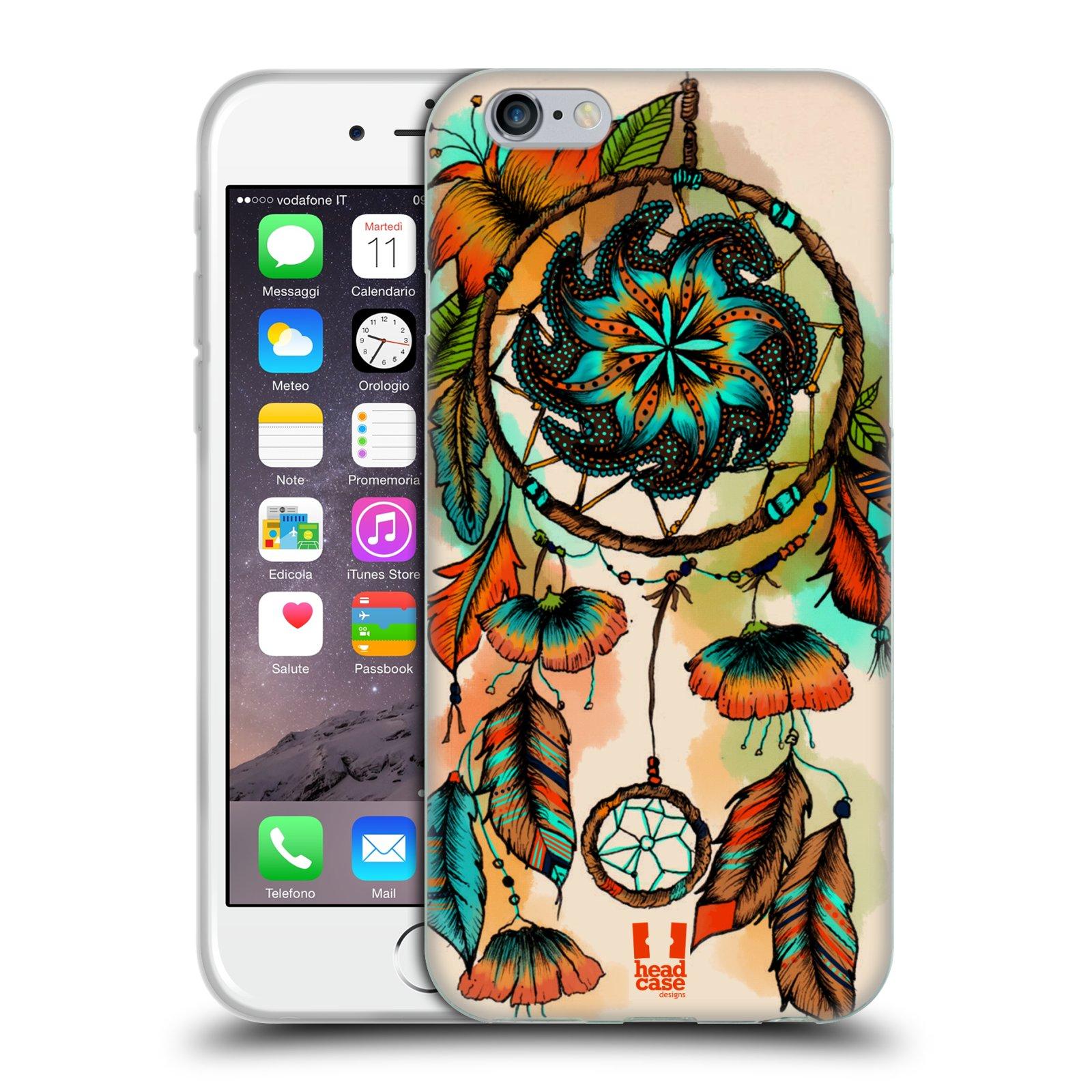 HEAD CASE silikonový obal na mobil Apple Iphone 6/6S vzor Květy lapač snů merňka oranžová