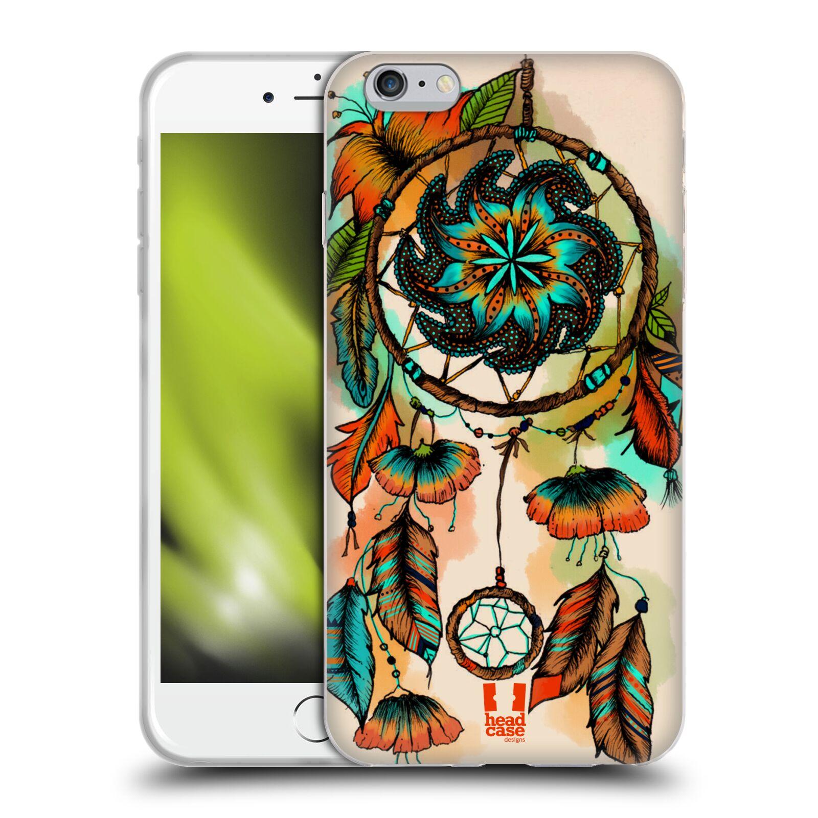 HEAD CASE silikonový obal na mobil Apple Iphone 6 PLUS/ 6S PLUS vzor Květy lapač snů merňka oranžová