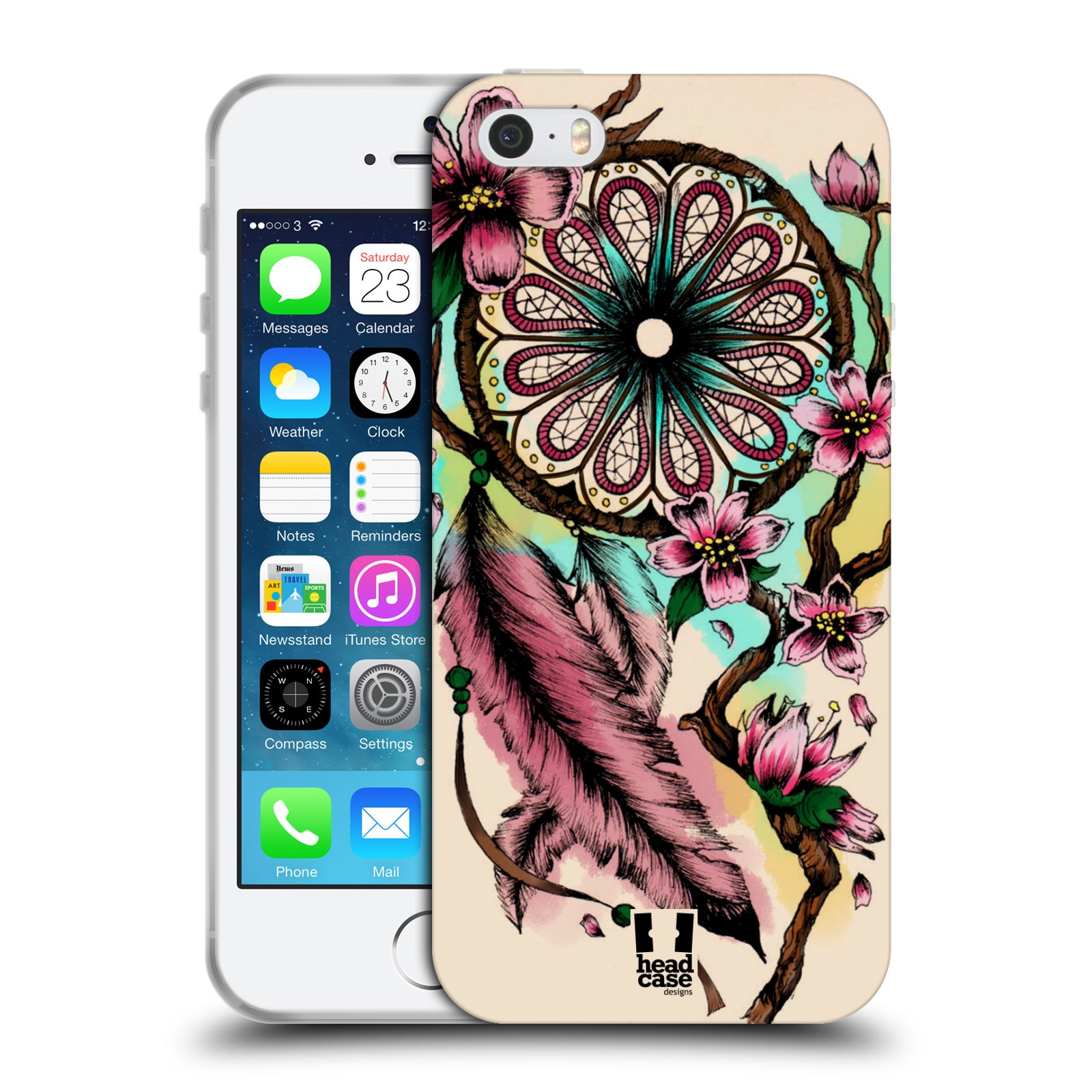 HEAD CASE silikonový obal na mobil Apple Iphone 5/5S vzor Květy lapač snů růžová