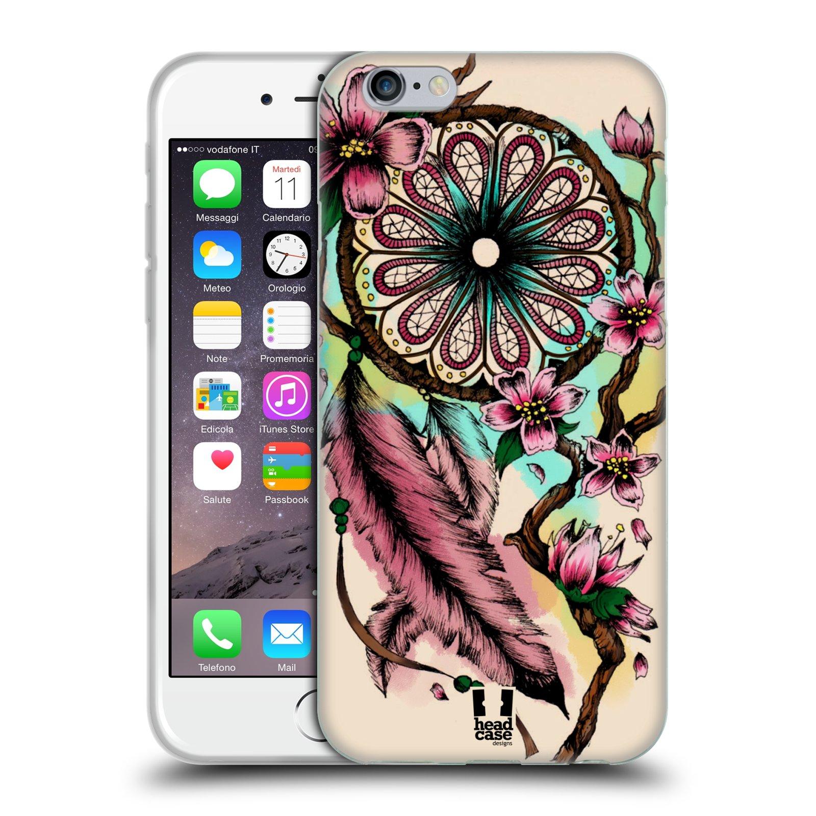 HEAD CASE silikonový obal na mobil Apple Iphone 6/6S vzor Květy lapač snů růžová