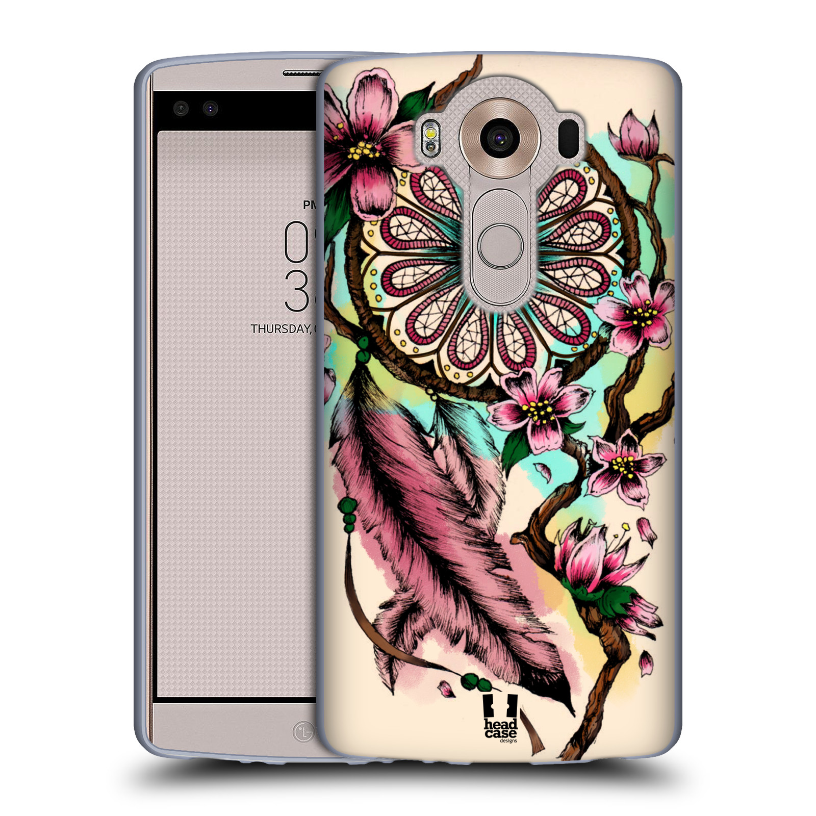 HEAD CASE silikonový obal na mobil LG V10 (H960A) vzor Květy lapač snů růžová
