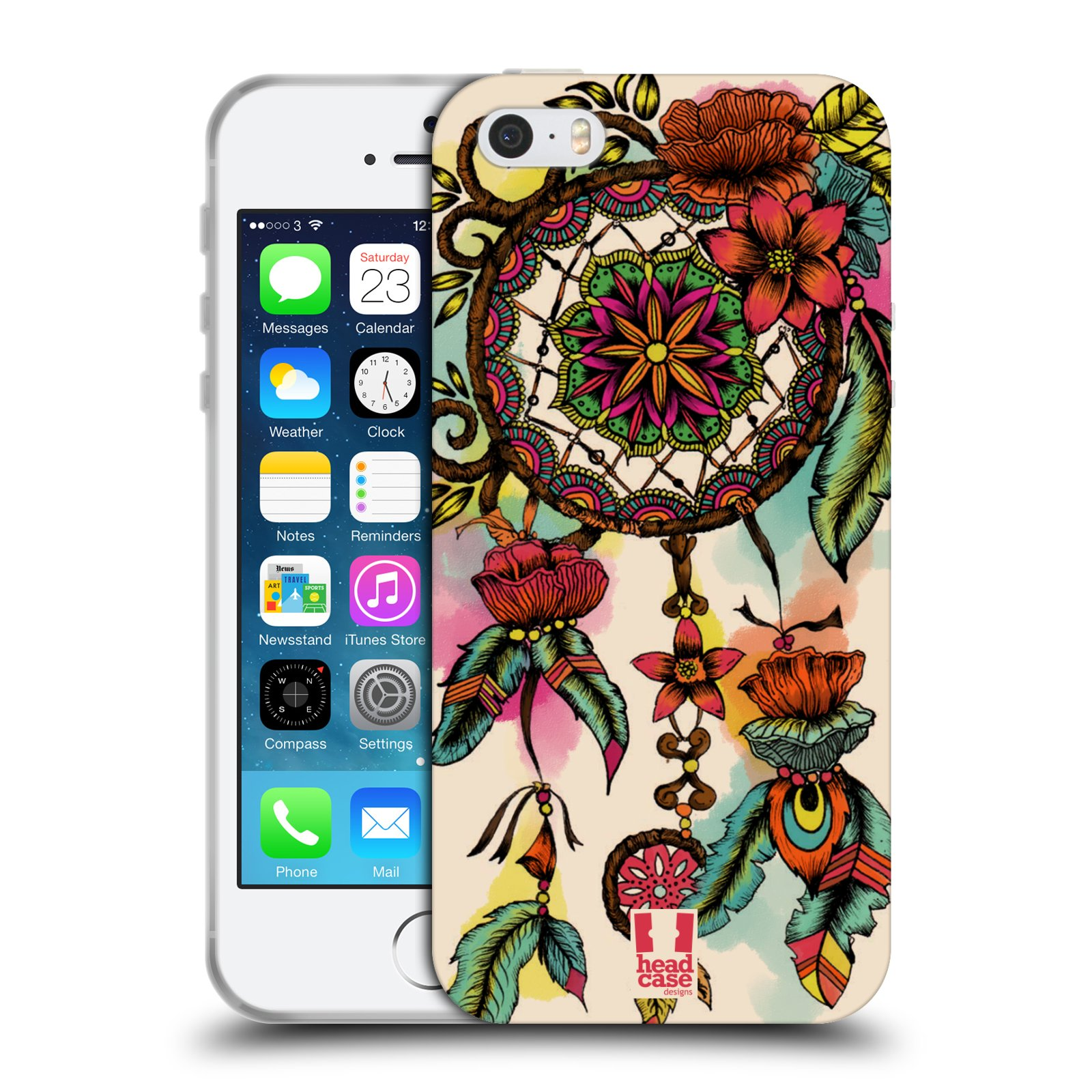 HEAD CASE silikonový obal na mobil Apple Iphone 5/5S vzor Květy lapač snů FLORID
