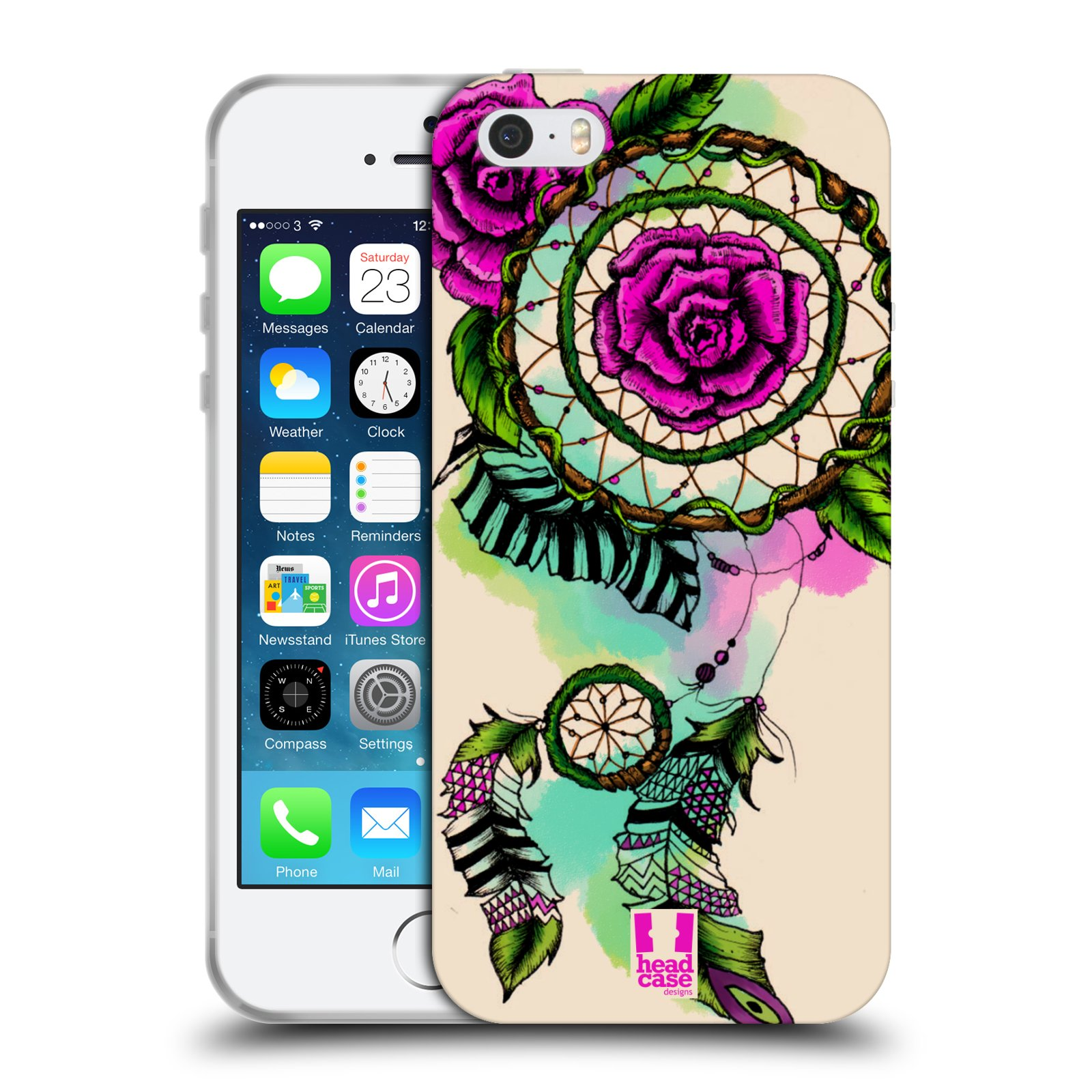 HEAD CASE silikonový obal na mobil Apple Iphone 5/5S vzor Květy lapač snů růže