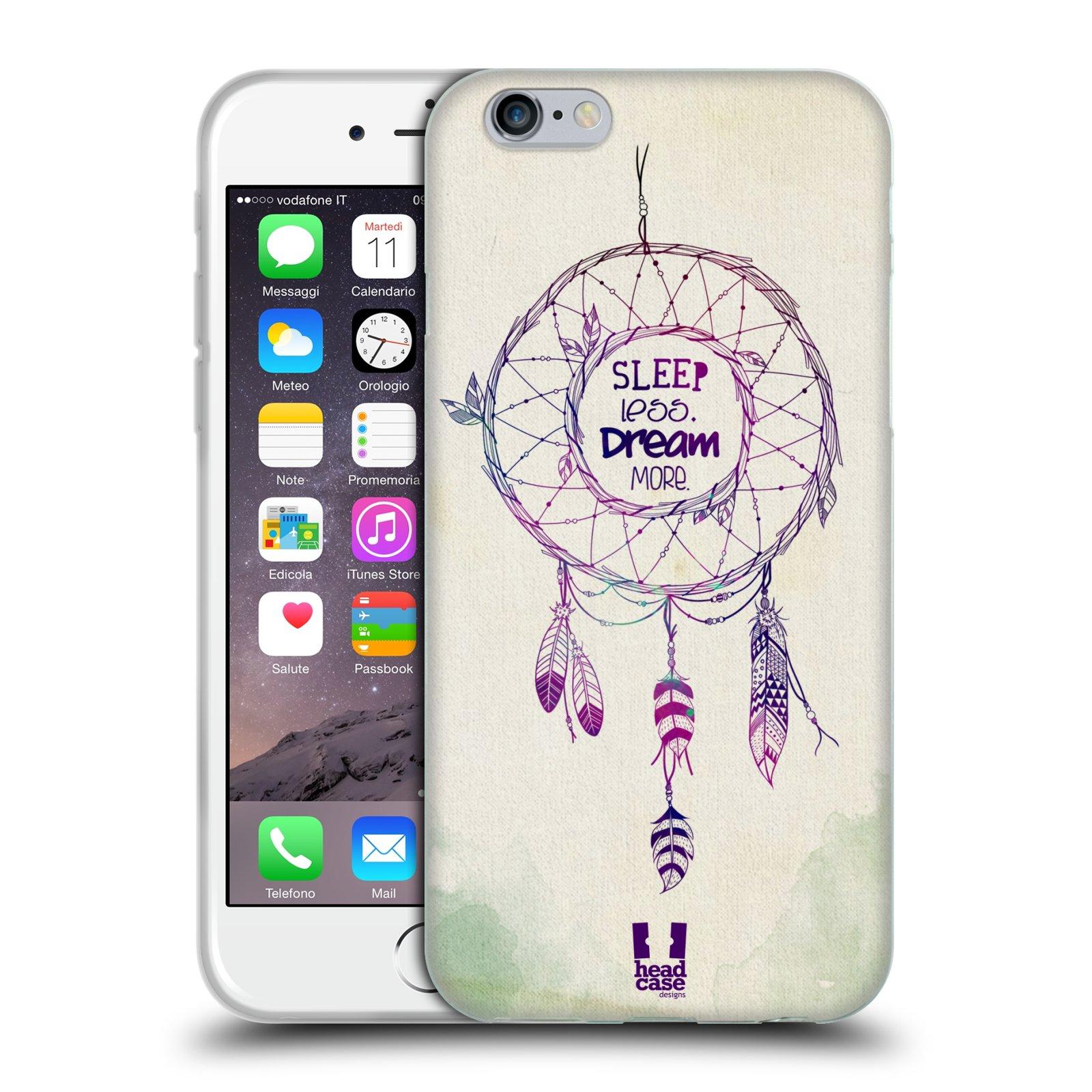 HEAD CASE silikonový obal na mobil Apple Iphone 6/6S vzor Lapač snů ZELENÁ A FIALOVÁ