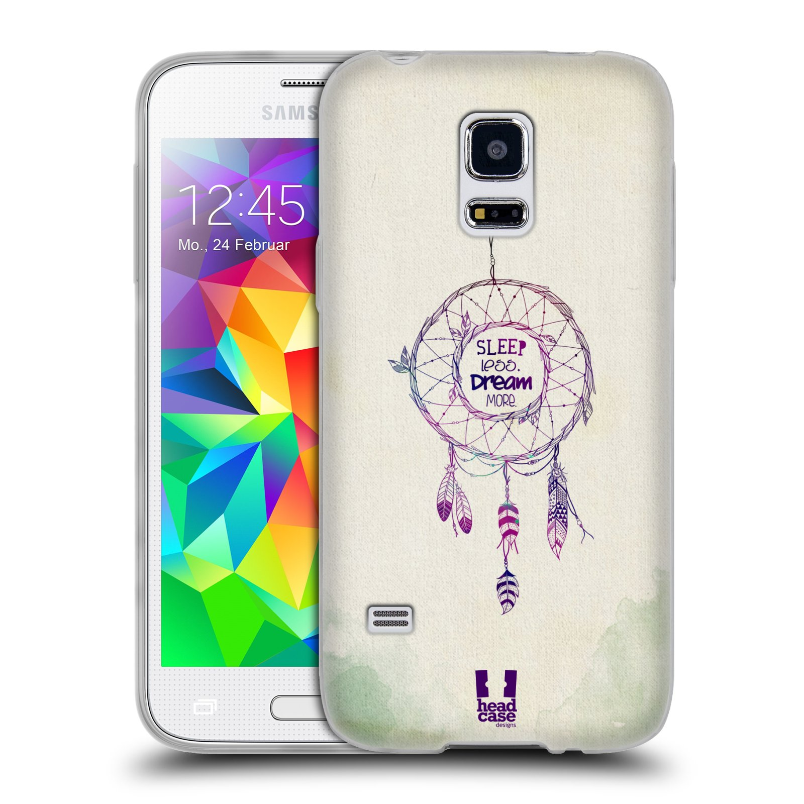 4f603e9c644 HEAD CASE silikonový obal na mobil Samsung Galaxy S5 MINI vzor Lapač snů  ZELENÁ A FIALOVÁ