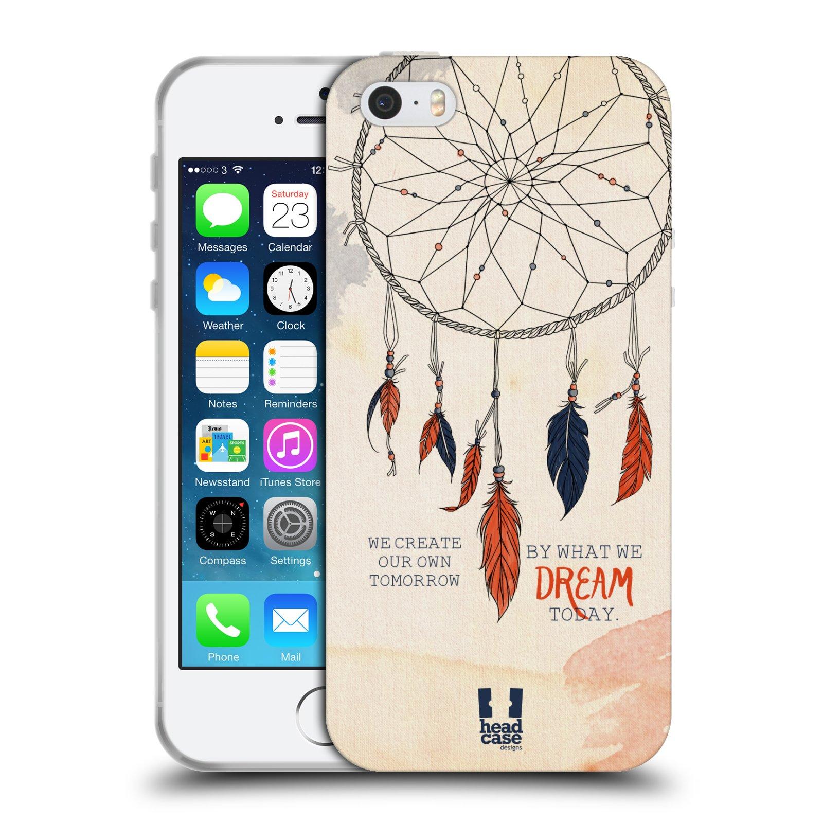 HEAD CASE silikonový obal na mobil Apple Iphone 5/5S vzor Lapač snů ORANŽOVÁ