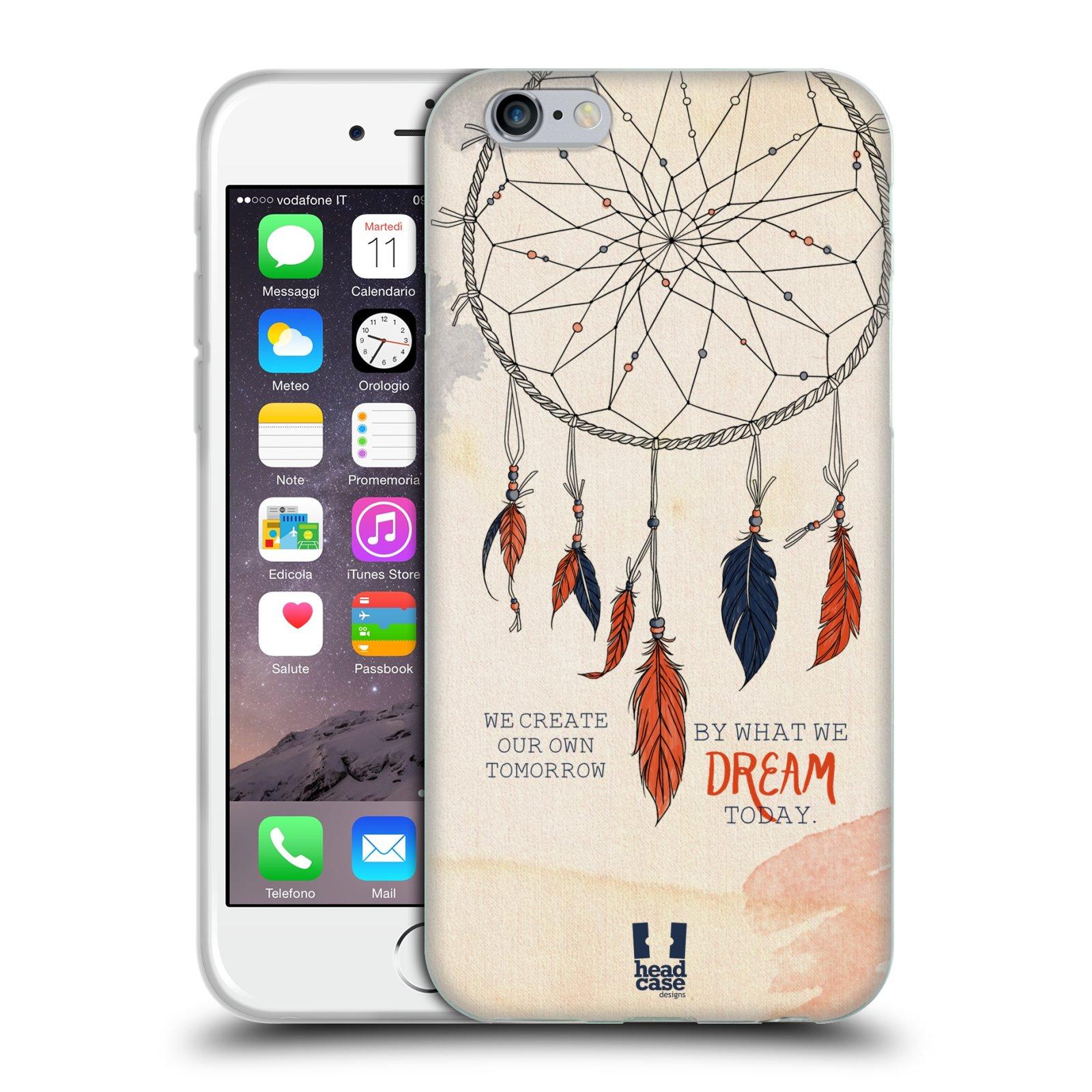 HEAD CASE silikonový obal na mobil Apple Iphone 6/6S vzor Lapač snů ORANŽOVÁ