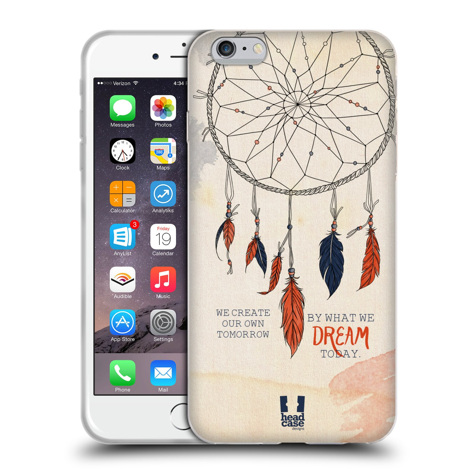 HEAD CASE silikonový obal na mobil Apple Iphone 6 PLUS/ 6S PLUS vzor Lapač snů ORANŽOVÁ