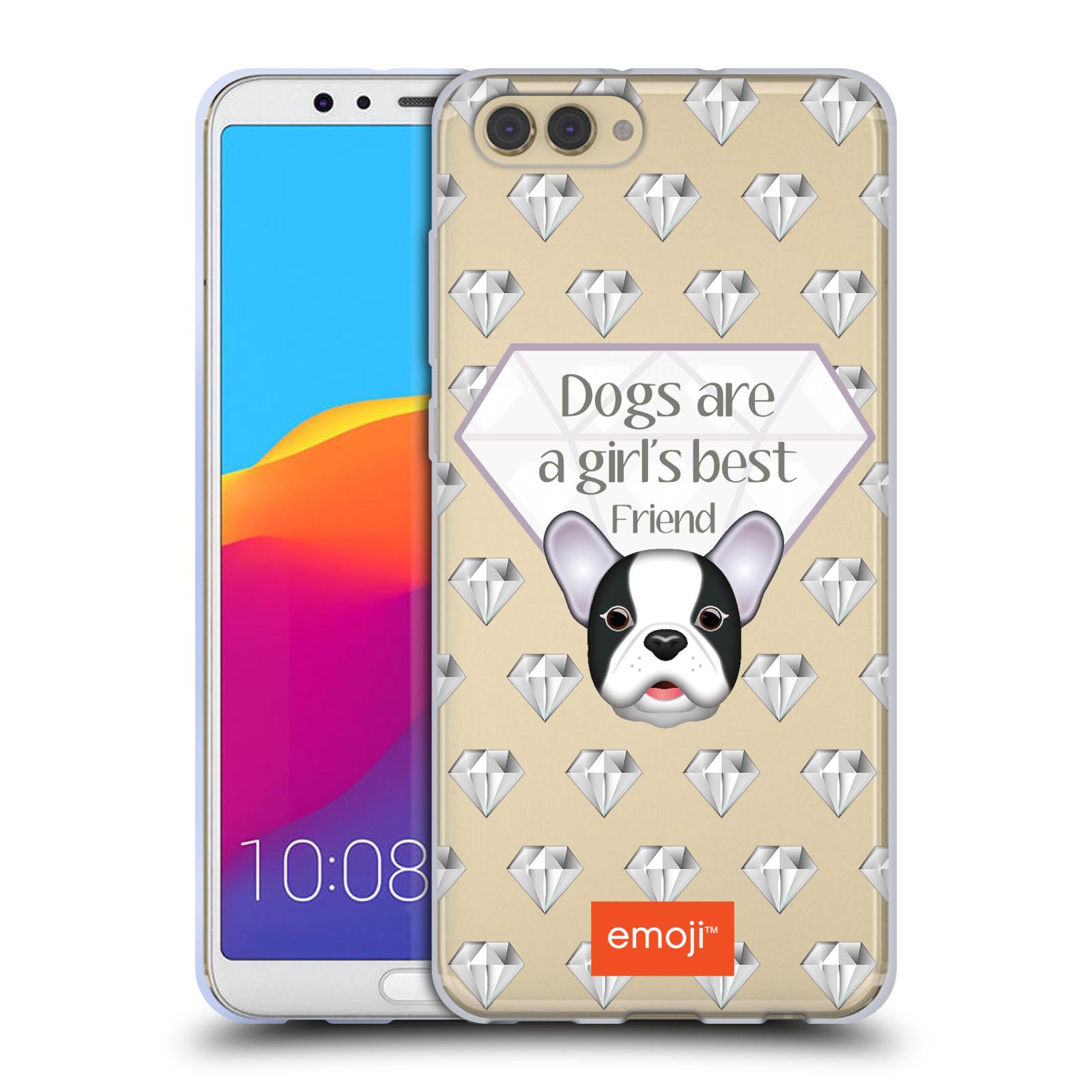 HEAD CASE silikonový obal na mobil Huawei HONOR VIEW 10 / V10 oficiální kryt EMOJI pejsek nejlepší přítel ženy