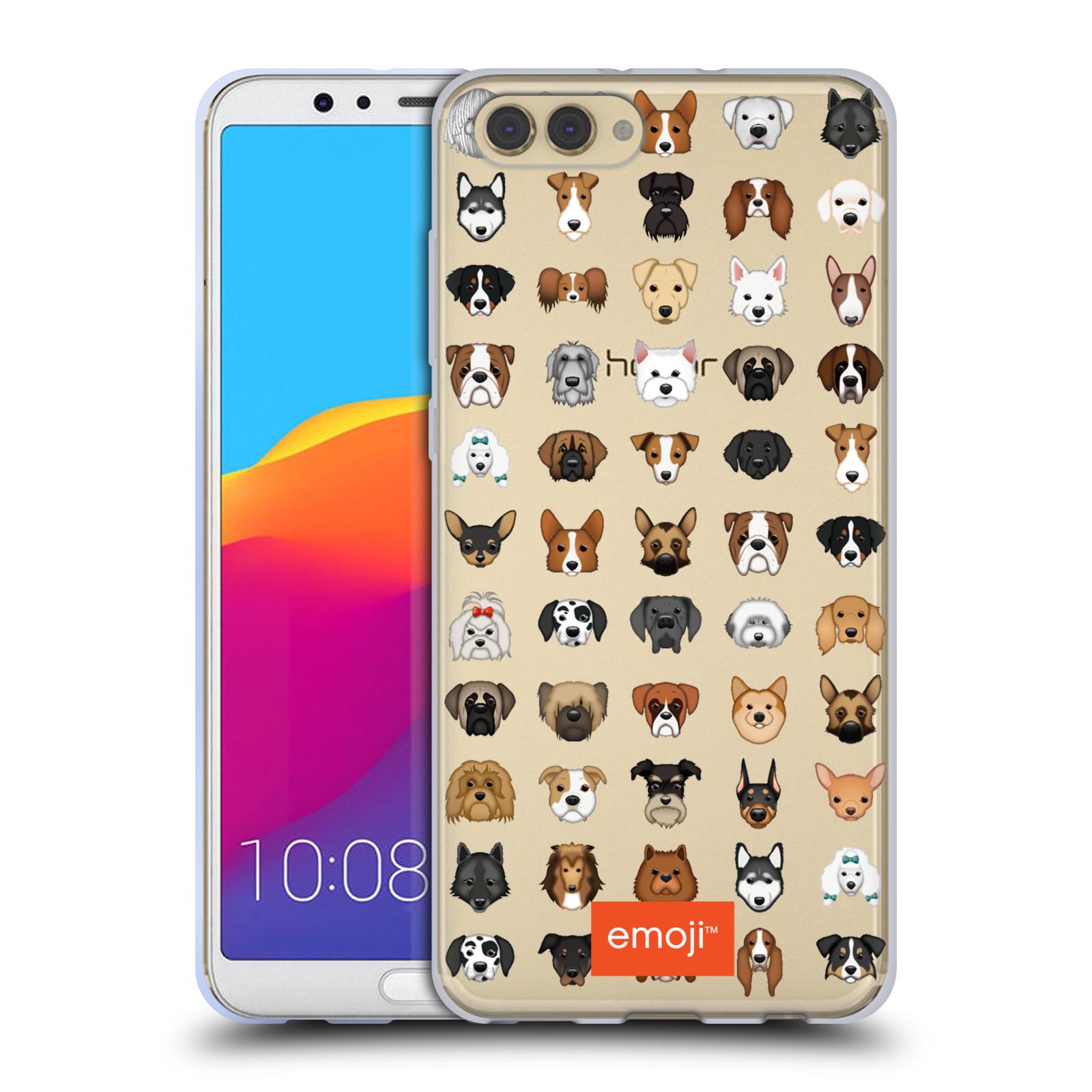 HEAD CASE silikonový obal na mobil Huawei HONOR VIEW 10 / V10 oficiální kryt EMOJI rasy pejsků série 2