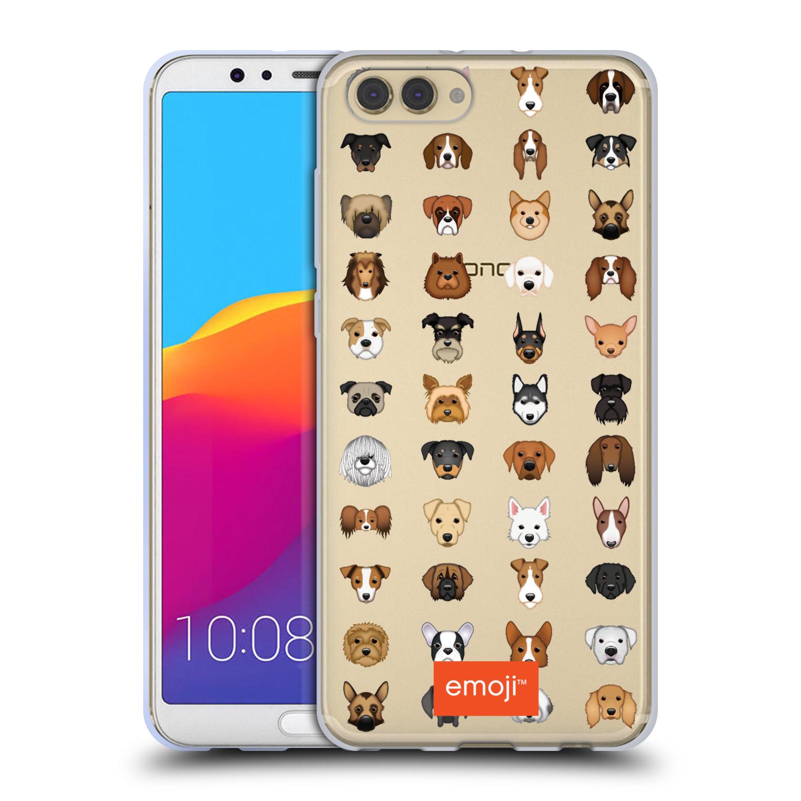 HEAD CASE silikonový obal na mobil Huawei HONOR VIEW 10 / V10 oficiální kryt EMOJI rasy pejsků