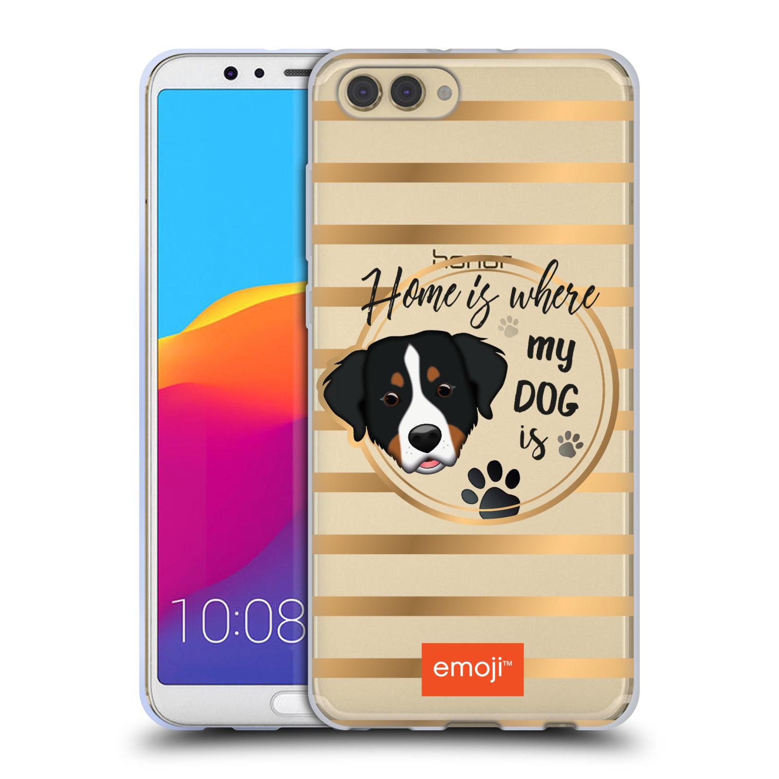 HEAD CASE silikonový obal na mobil Huawei HONOR VIEW 10 / V10 oficiální kryt EMOJI pejskův domov