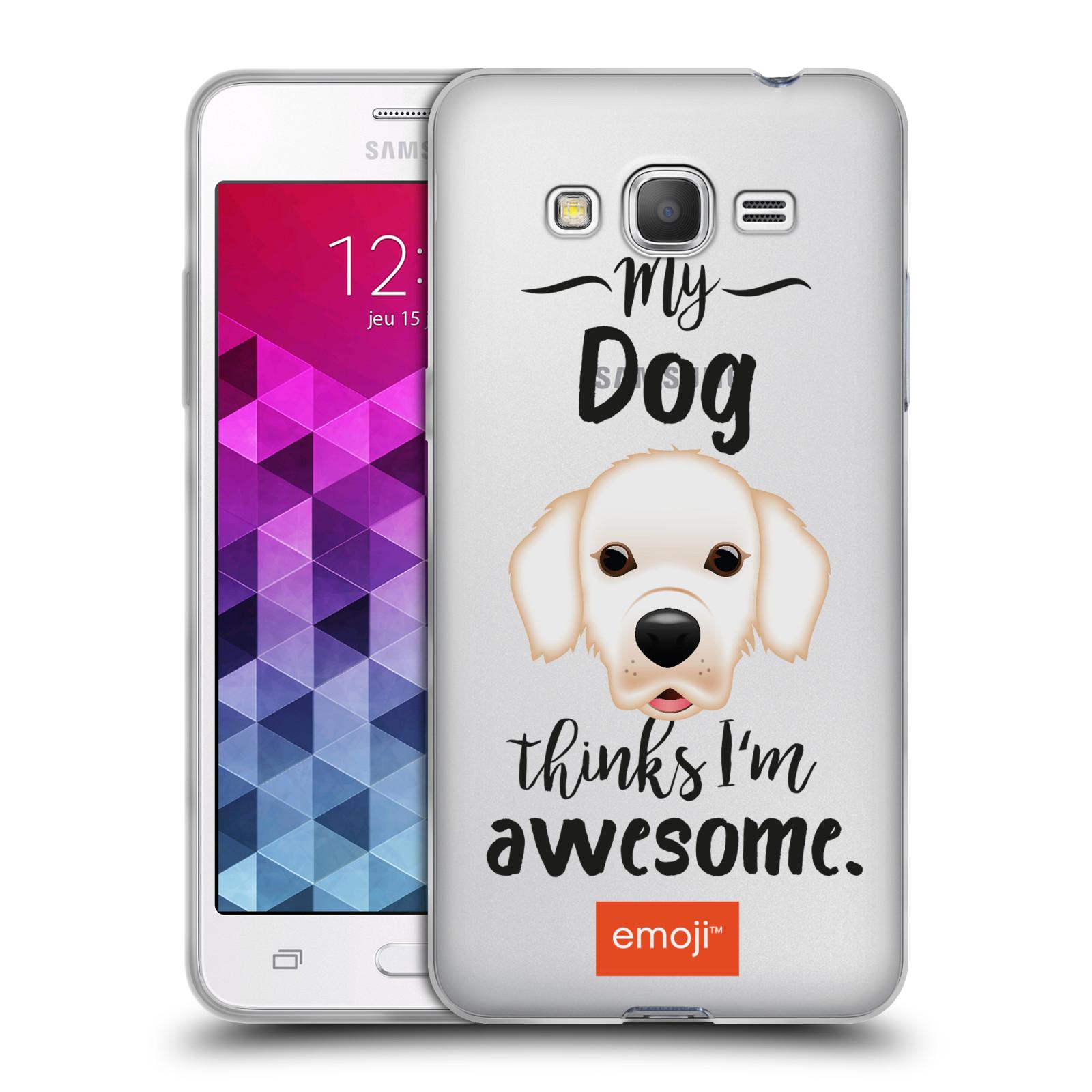 HEAD CASE silikonový obal na mobil Samsung Galaxy Grand Prime oficiální kryt EMOJI Labrador