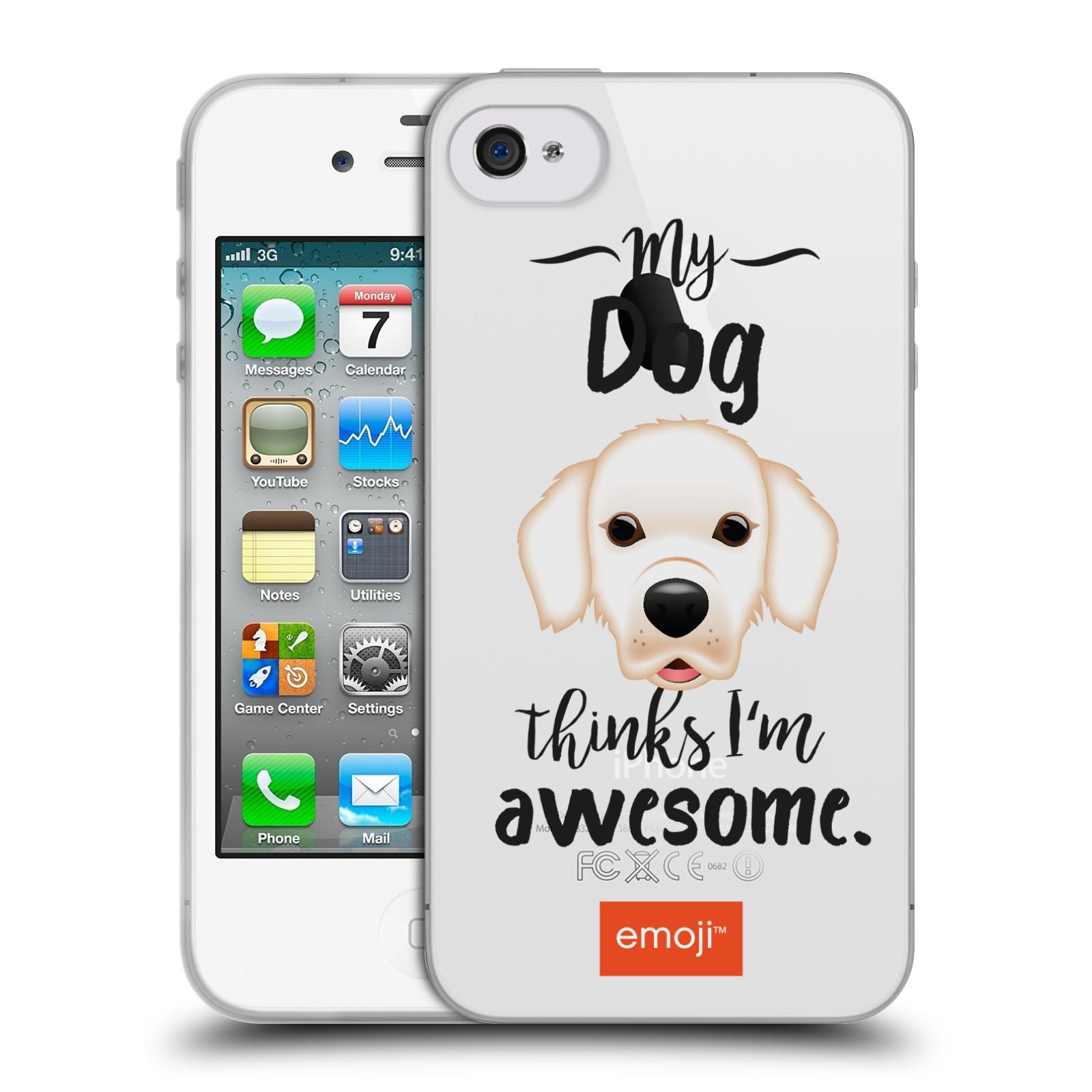 HEAD CASE silikonový obal na mobil Apple Iphone 4/4S oficiální kryt EMOJI Labrador
