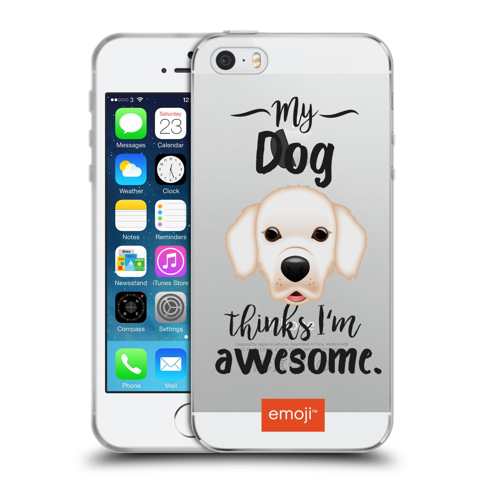 HEAD CASE silikonový obal na mobil Apple Iphone 5/5S oficiální kryt EMOJI Labrador