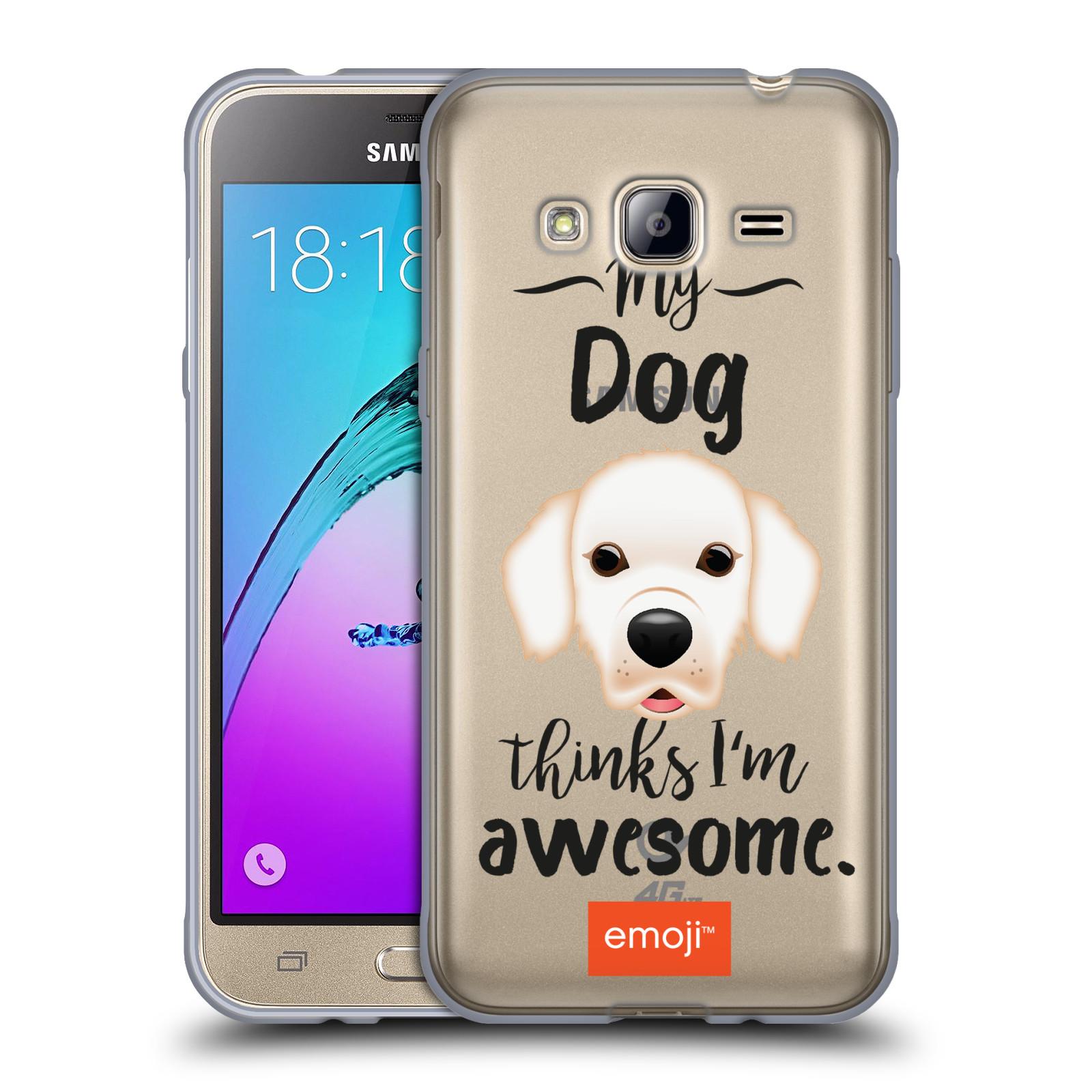 HEAD CASE silikonový obal na mobil Samsung Galaxy J3, J3 2016 oficiální kryt EMOJI Labrador