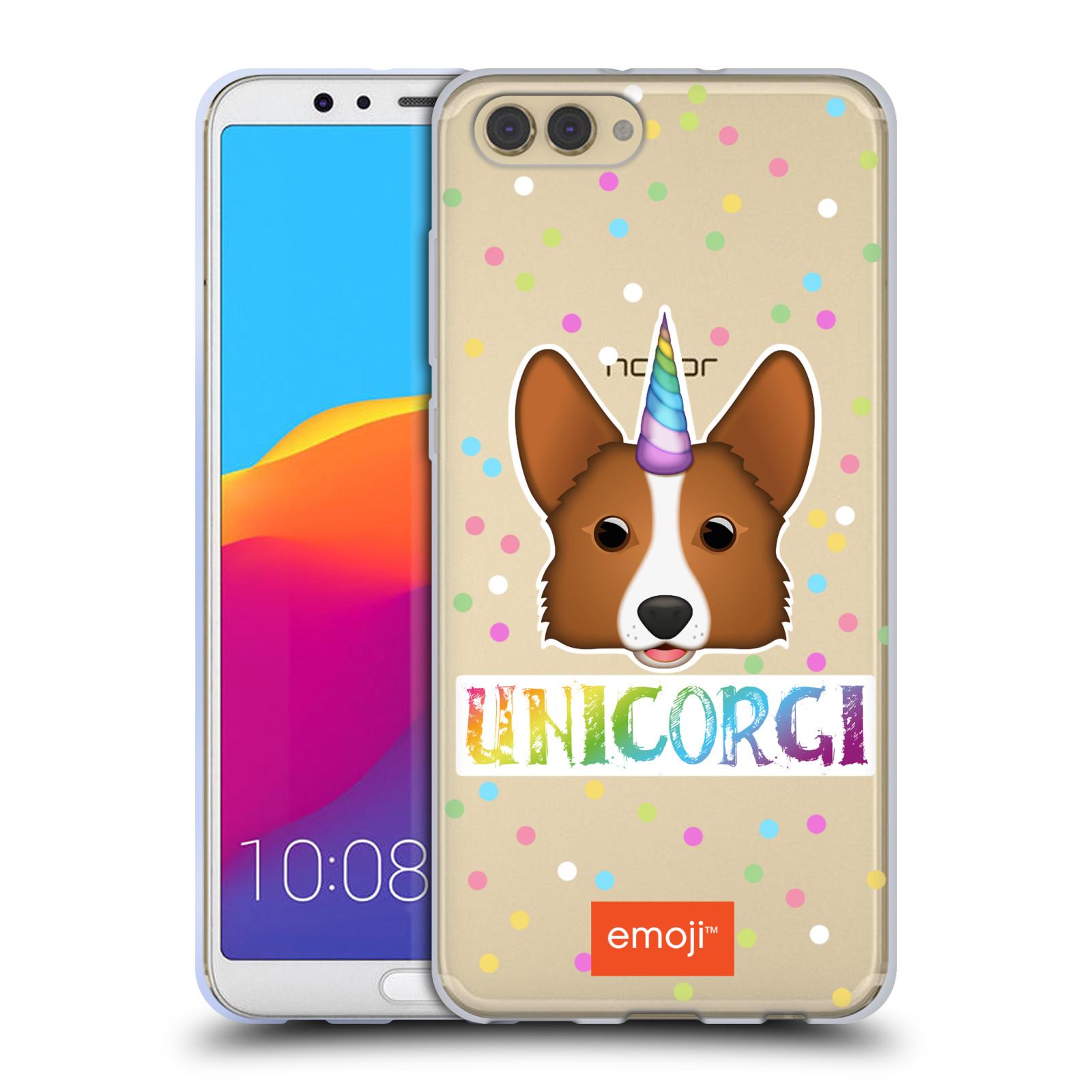 HEAD CASE silikonový obal na mobil Huawei HONOR VIEW 10 / V10 oficiální kryt EMOJI jednorožec Corgi