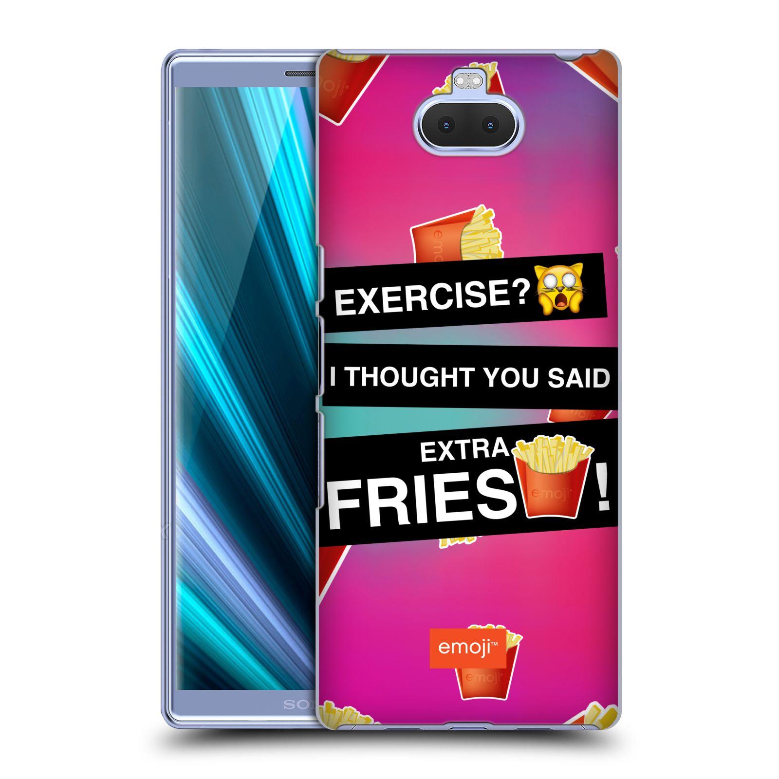 Pouzdro na mobil Sony Xperia 10 Plus - Head Case - smajlíci oficiální kryt EMOJI vzor nápis extra hranolky a cvičení