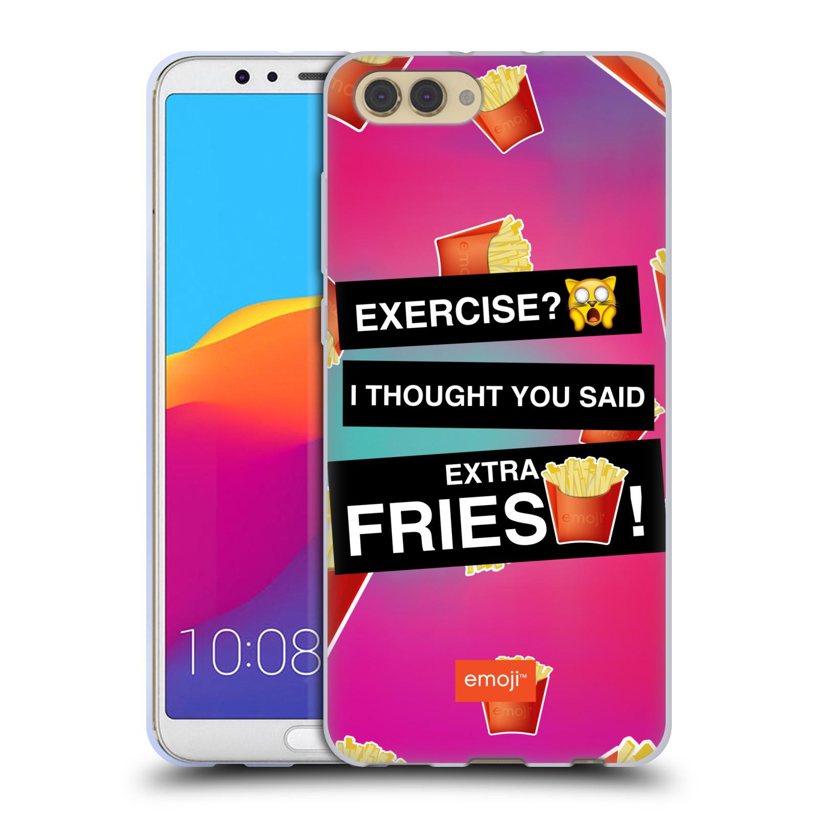 HEAD CASE silikonový obal na mobil Huawei HONOR VIEW 10 / V10 smajlíci oficiální kryt EMOJI vzor nápis extra hranolky a cvičení