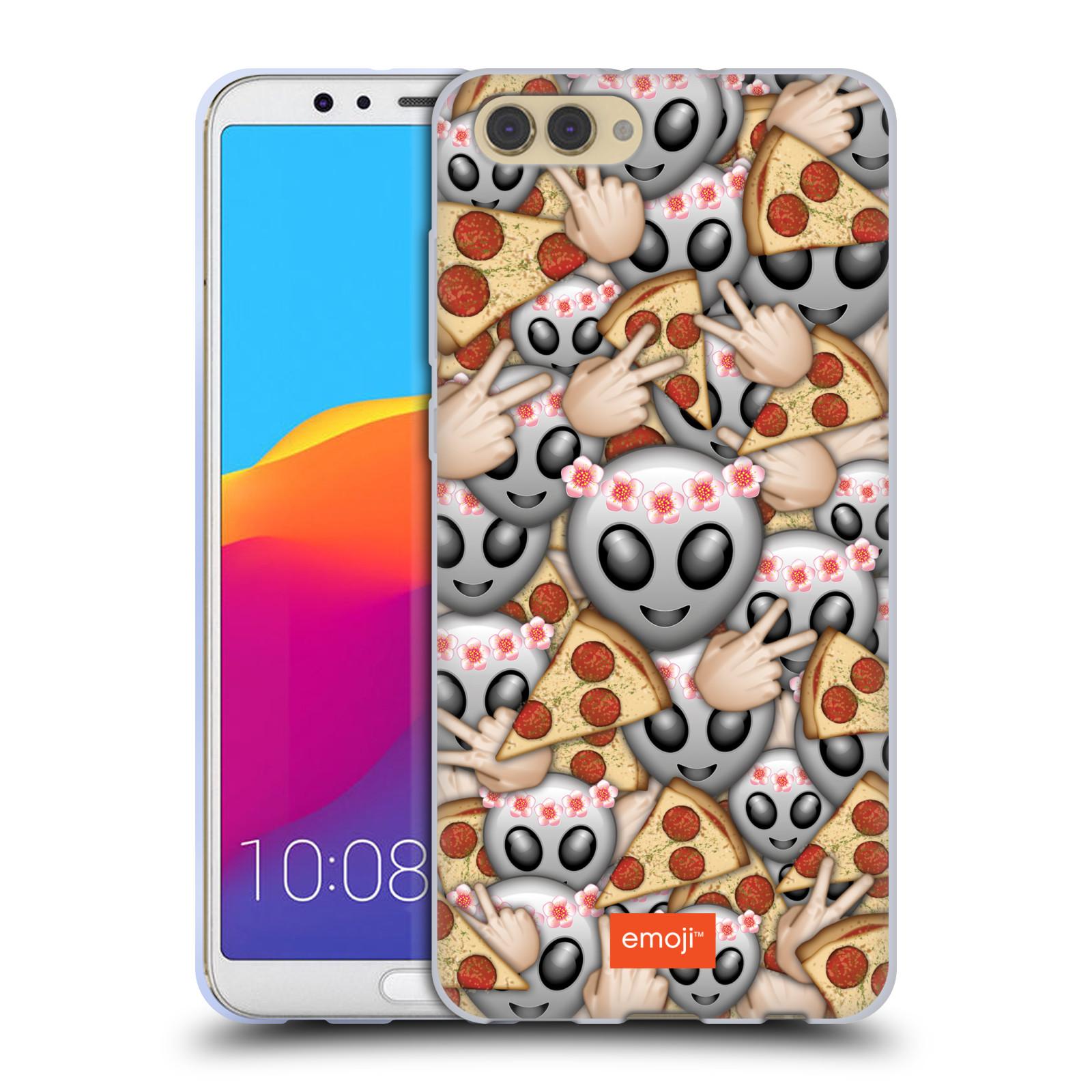 HEAD CASE silikonový obal na mobil Huawei HONOR VIEW 10 / V10 smajlíci oficiální kryt EMOJI UFO a PIZZA