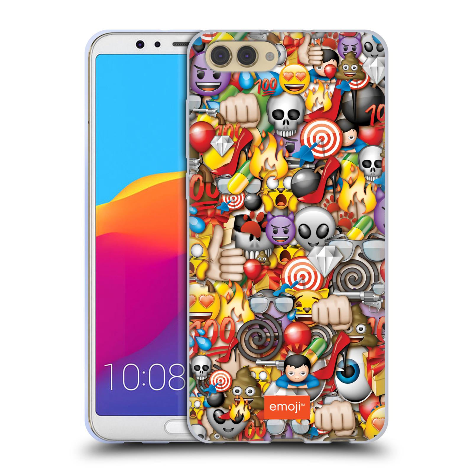 HEAD CASE silikonový obal na mobil Huawei HONOR VIEW 10 / V10 smajlíci oficiální kryt EMOJI vzor tlačenice