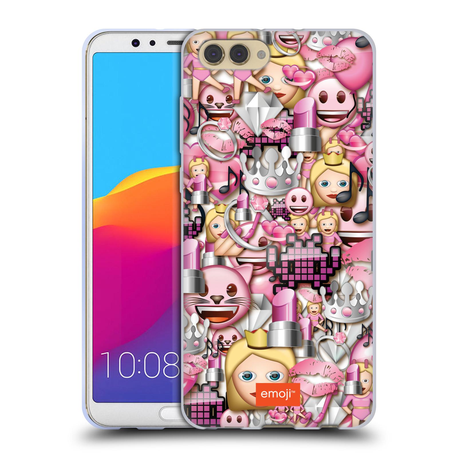 HEAD CASE silikonový obal na mobil Huawei HONOR VIEW 10 / V10 smajlíci oficiální kryt EMOJI vzor fashion růžová