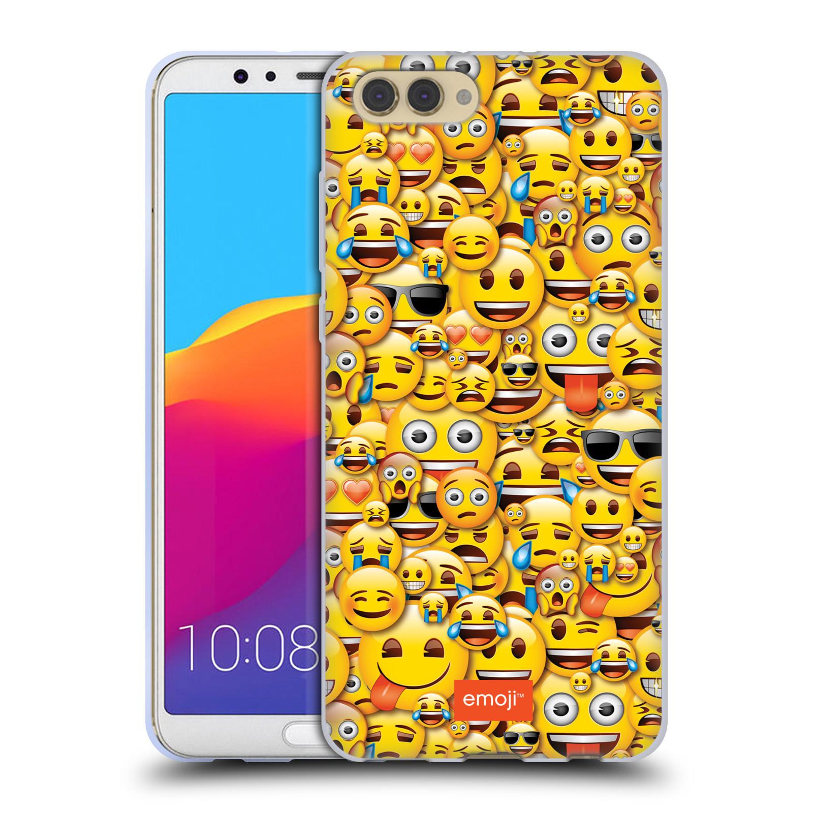HEAD CASE silikonový obal na mobil Huawei HONOR VIEW 10 / V10 smajlíci oficiální kryt EMOJI vzor smajlící žlutá hromada