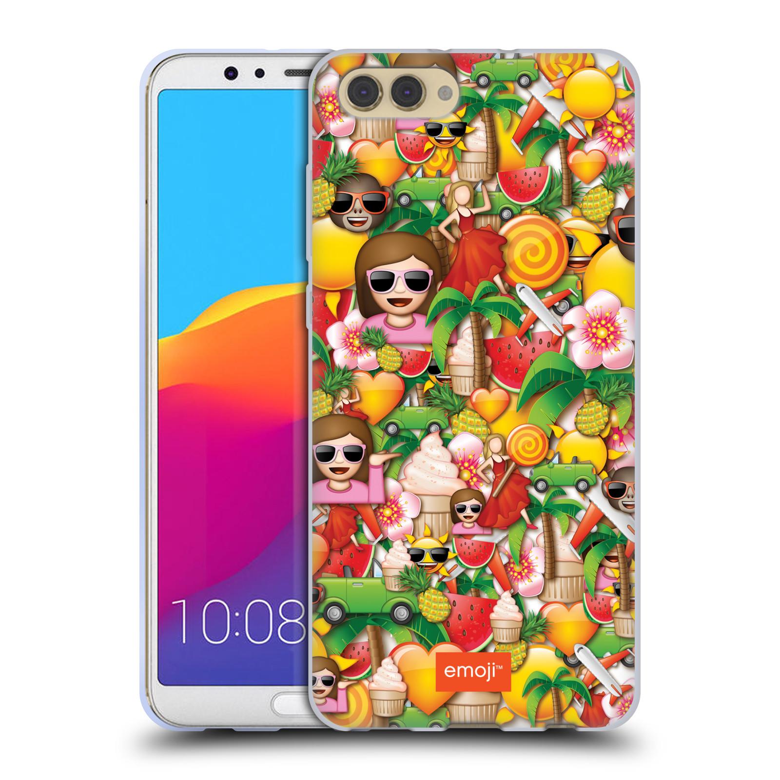 HEAD CASE silikonový obal na mobil Huawei HONOR VIEW 10 / V10 smajlíci oficiální kryt EMOJI vzor smajlící a léto